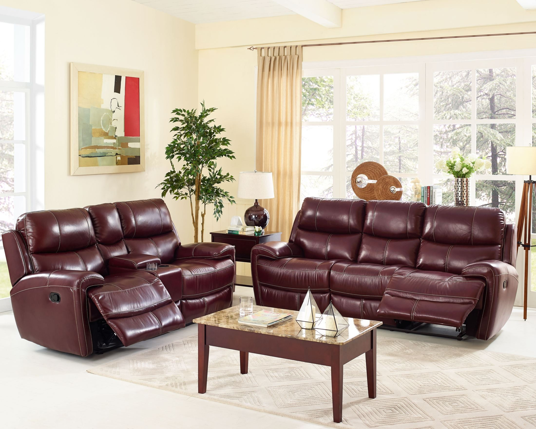 Boulevard Burgundy Power Dual Reclining Living Room Set From New Classic Co