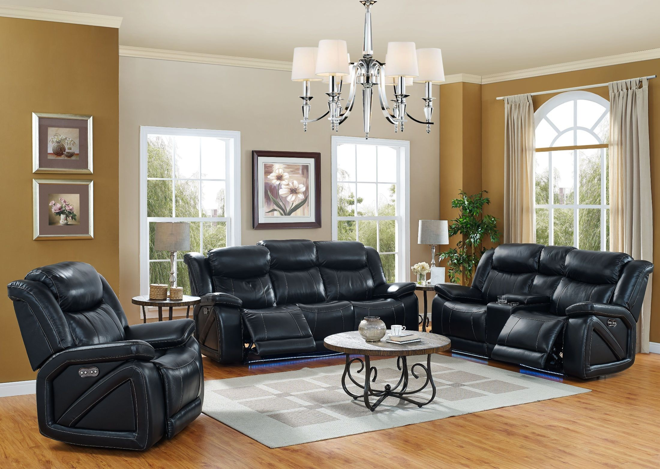 Las Vegas Black Power Reclining Living Room Set From New Classic Coleman Furniture