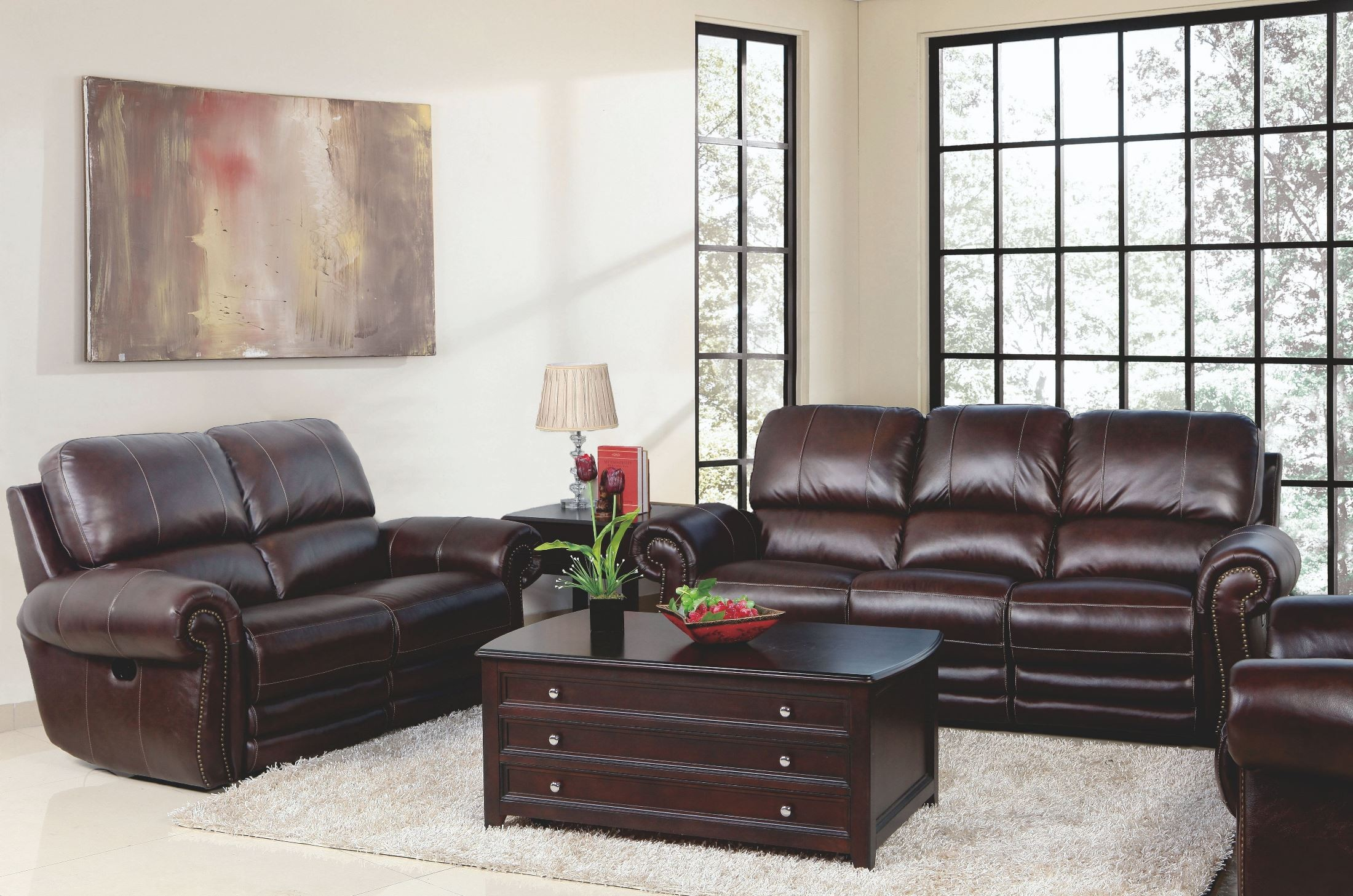 Rossi dark brown power reclining living room set from new for Dark brown living room set