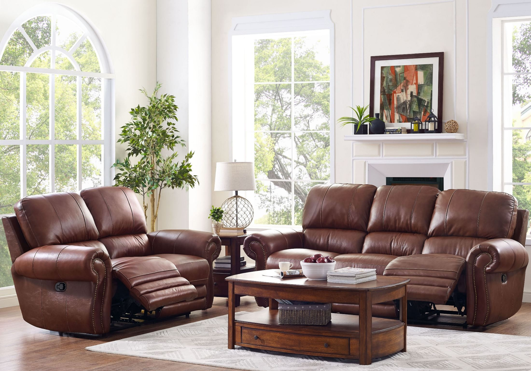 Rossi Light Brown Power Reclining Living Room Set From New