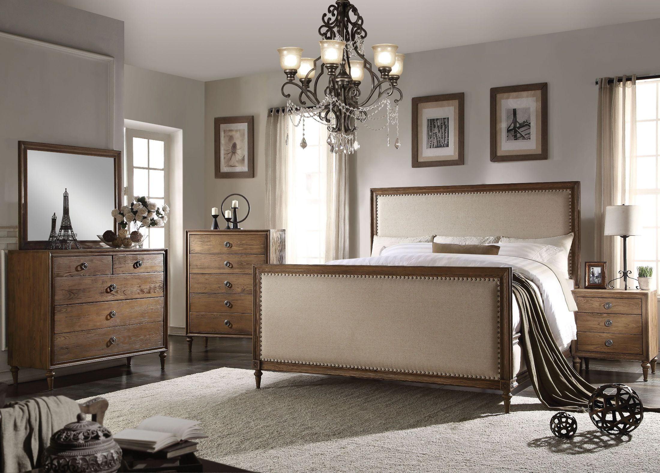 Inverness Parker Reclaimed Oak Upholstered Panel Bedroom Set from ...