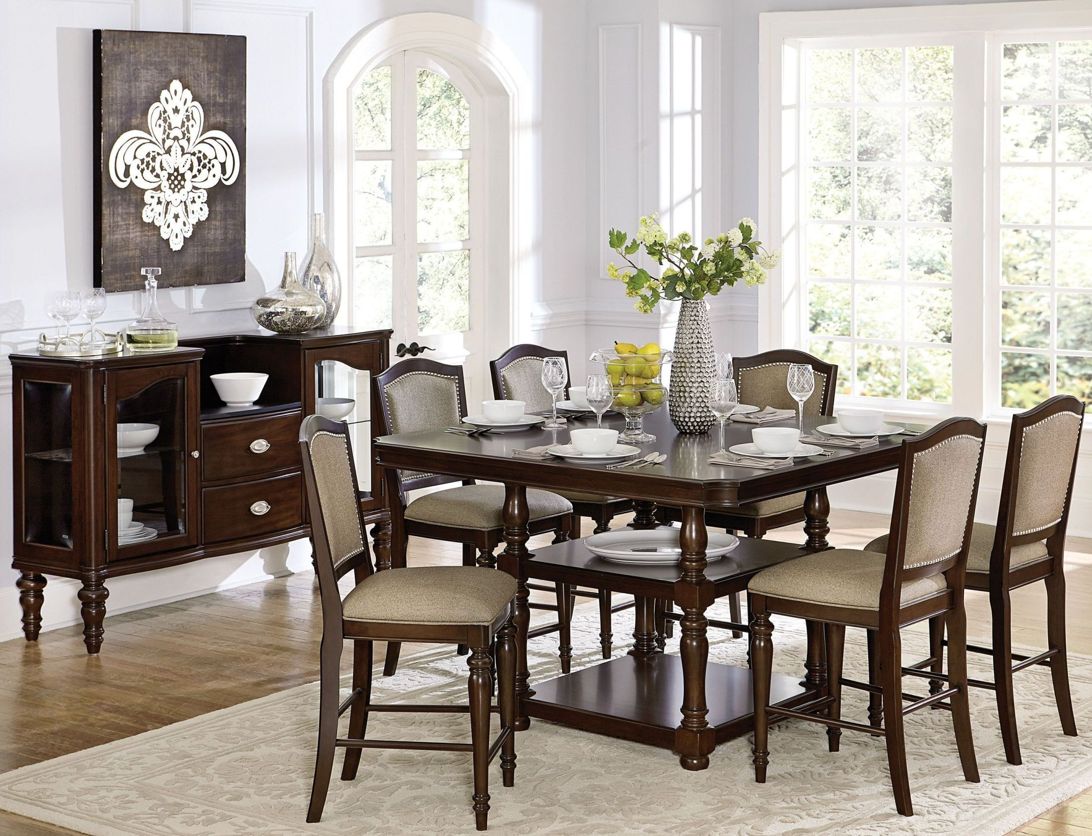 Marston brown counter height dining room set from for Brown dining room set