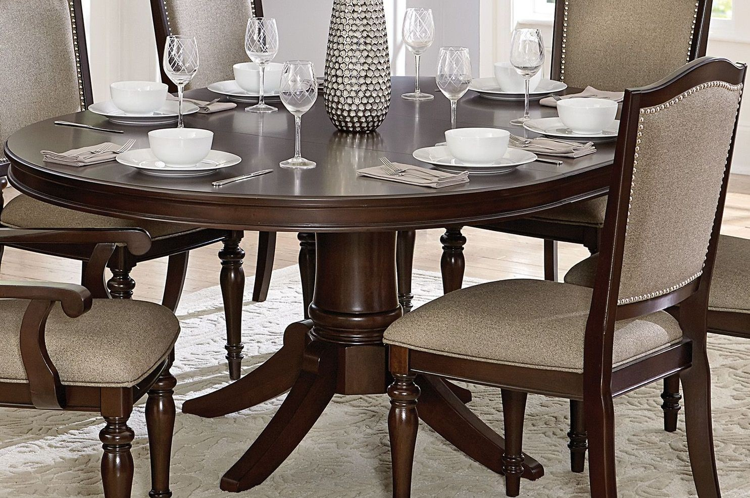 Marston Brown Pedestal Oval Extendable Dining Table from ...