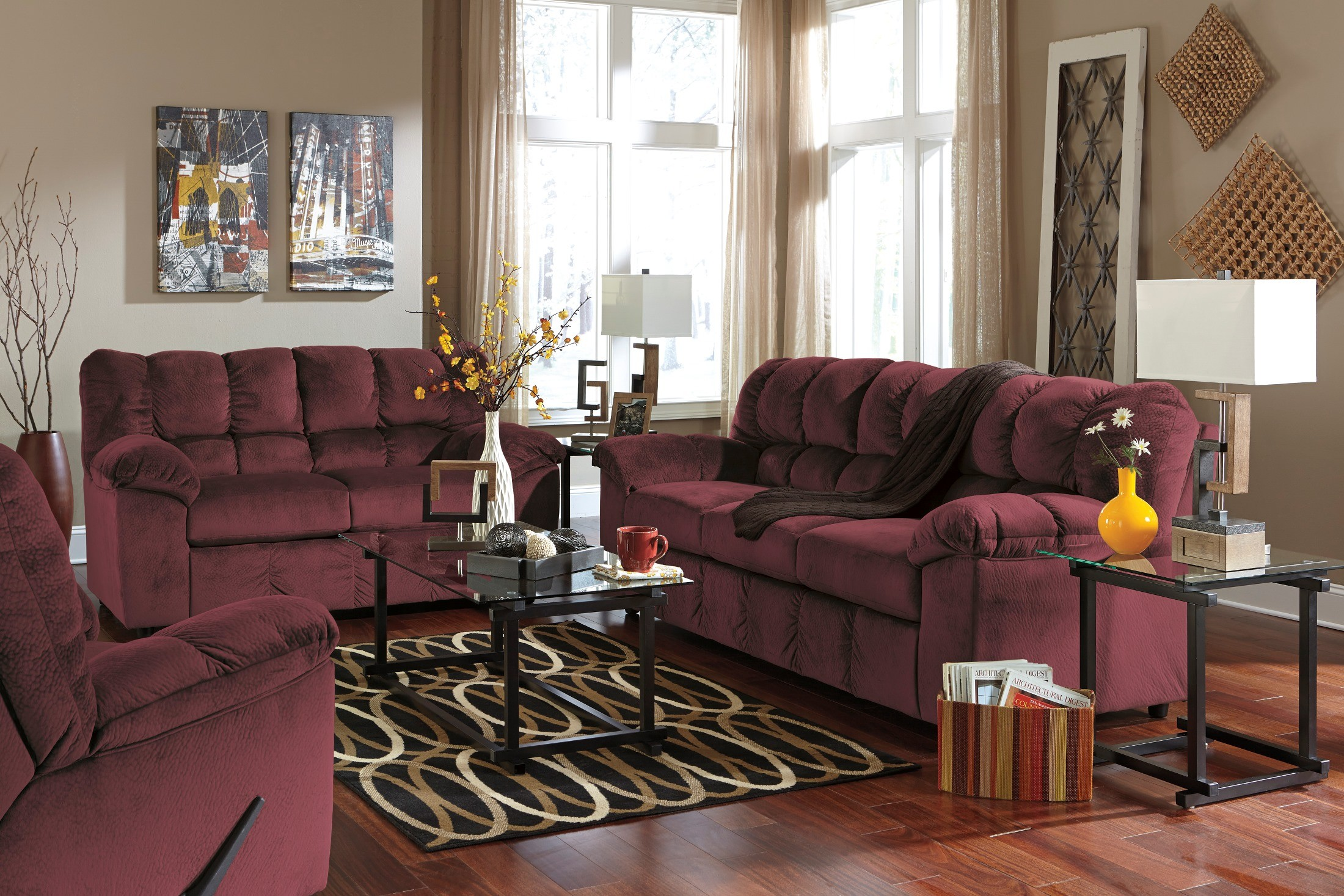 julson burgundy living room set from 26602 38 35 82781