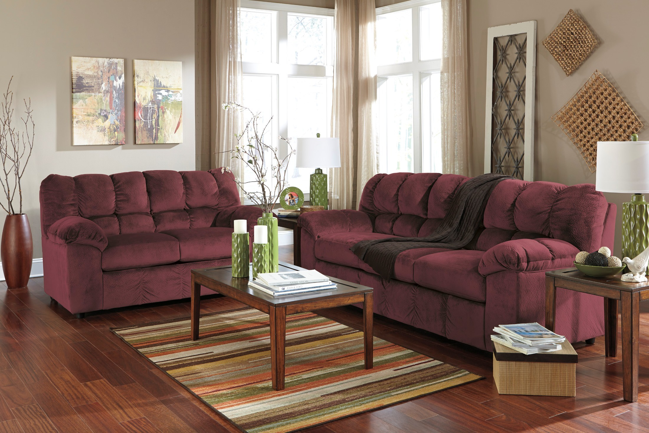 Living Room Furniture: Julson Burgundy Living Room Set From Ashley (26602-38-35