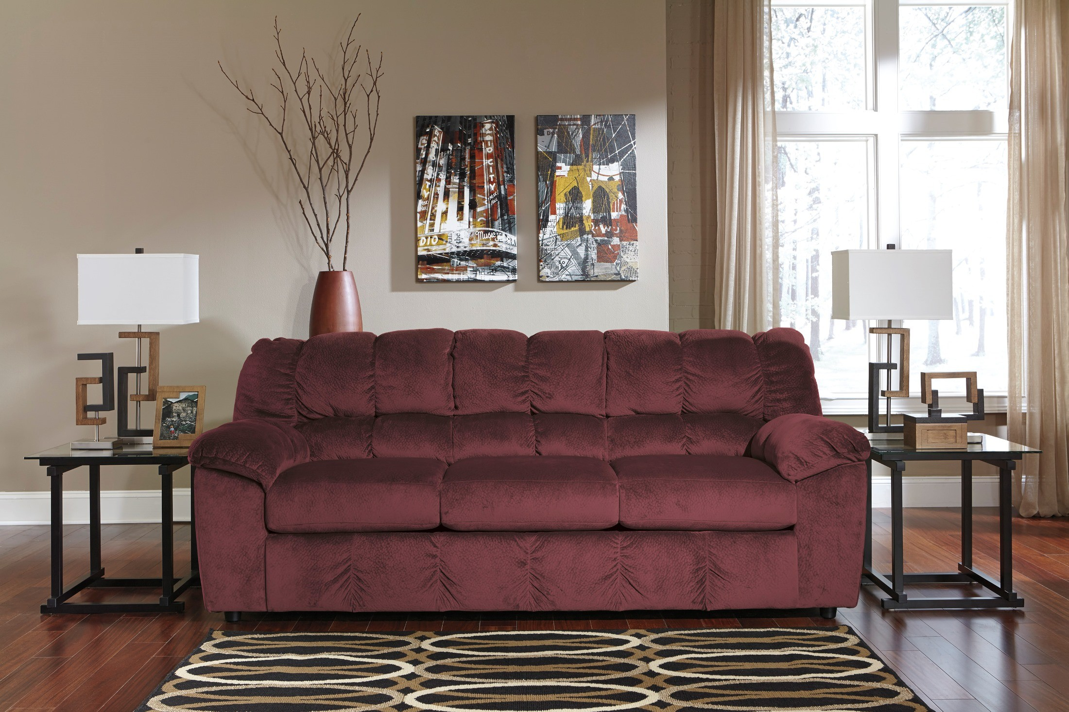 rustic julson burgundy living room set | Julson Burgundy Stationary Sofa from Ashley (2660238 ...