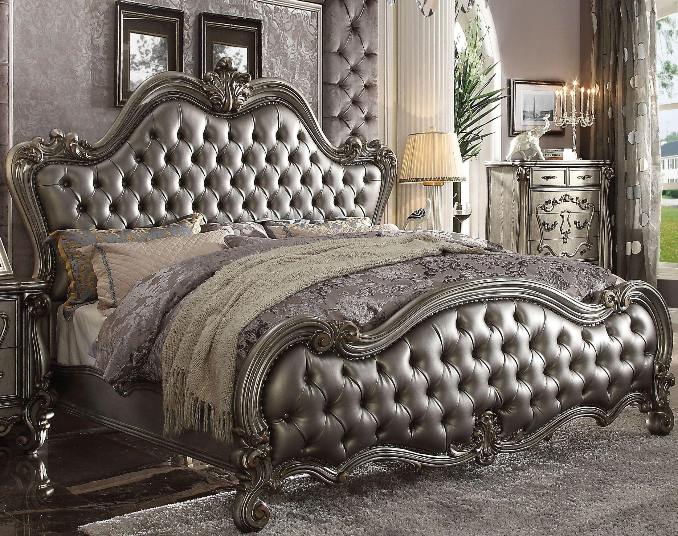 Versailles II Silver Antique Platinum Upholstered Panel Bedroom ...