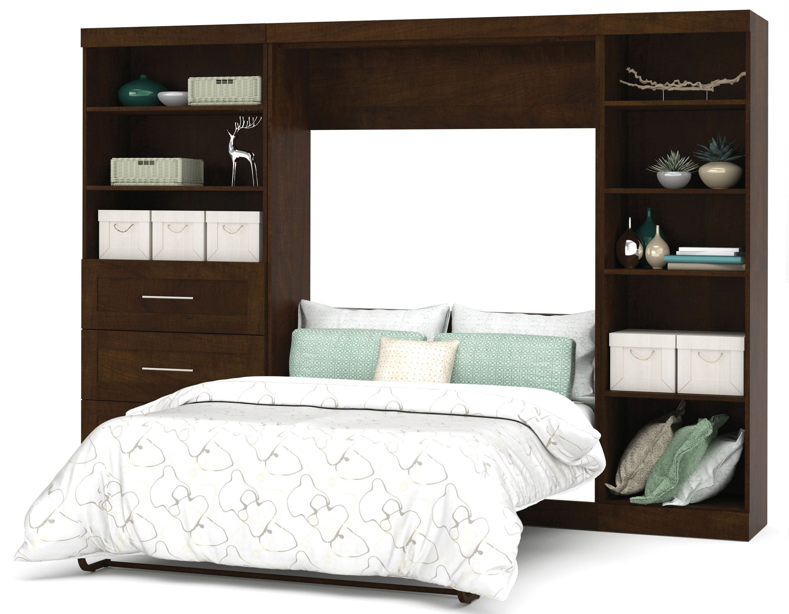 Pur Chocolate 120 Quot Full Wall Bed With Left Side Drawers