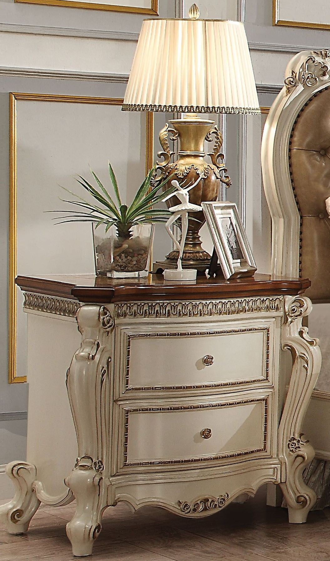 Picardy and Antique Pearl Upholstered Panel Bedroom Set from Acme ...