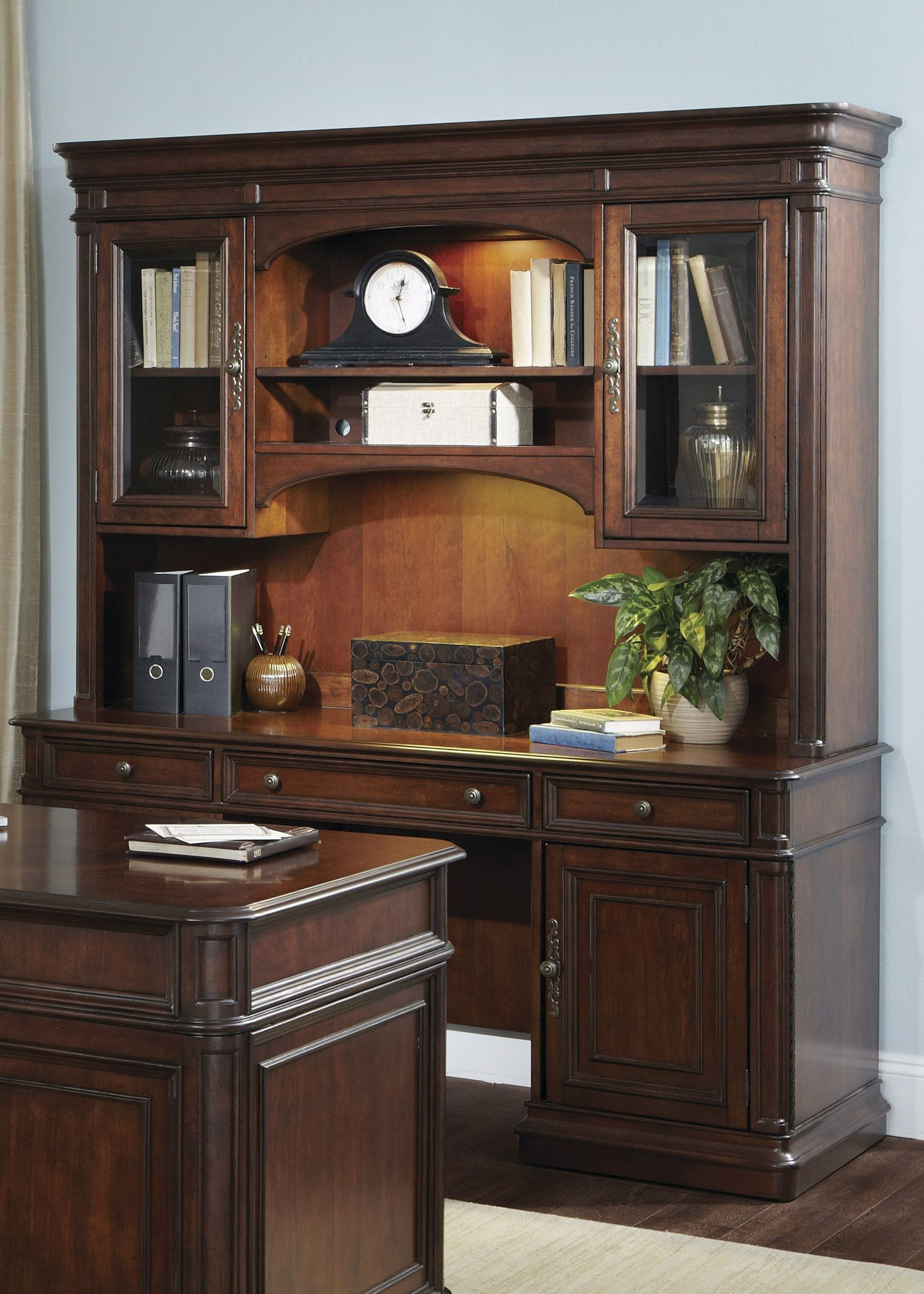Brayton Manor Cognac Jr Executive Credenza With Hutch From