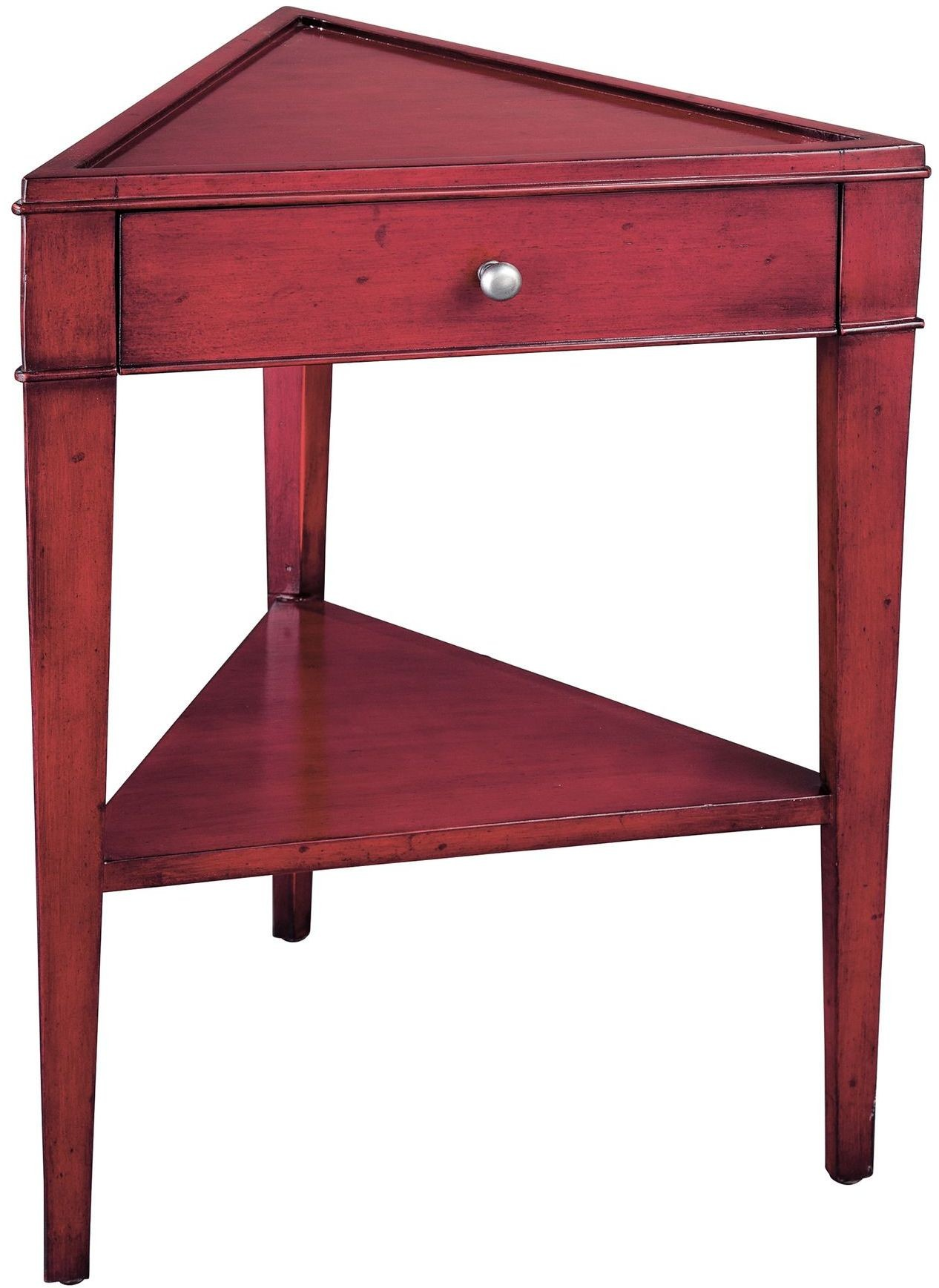 Red straight triangle side table from hekman furniture for Red side table