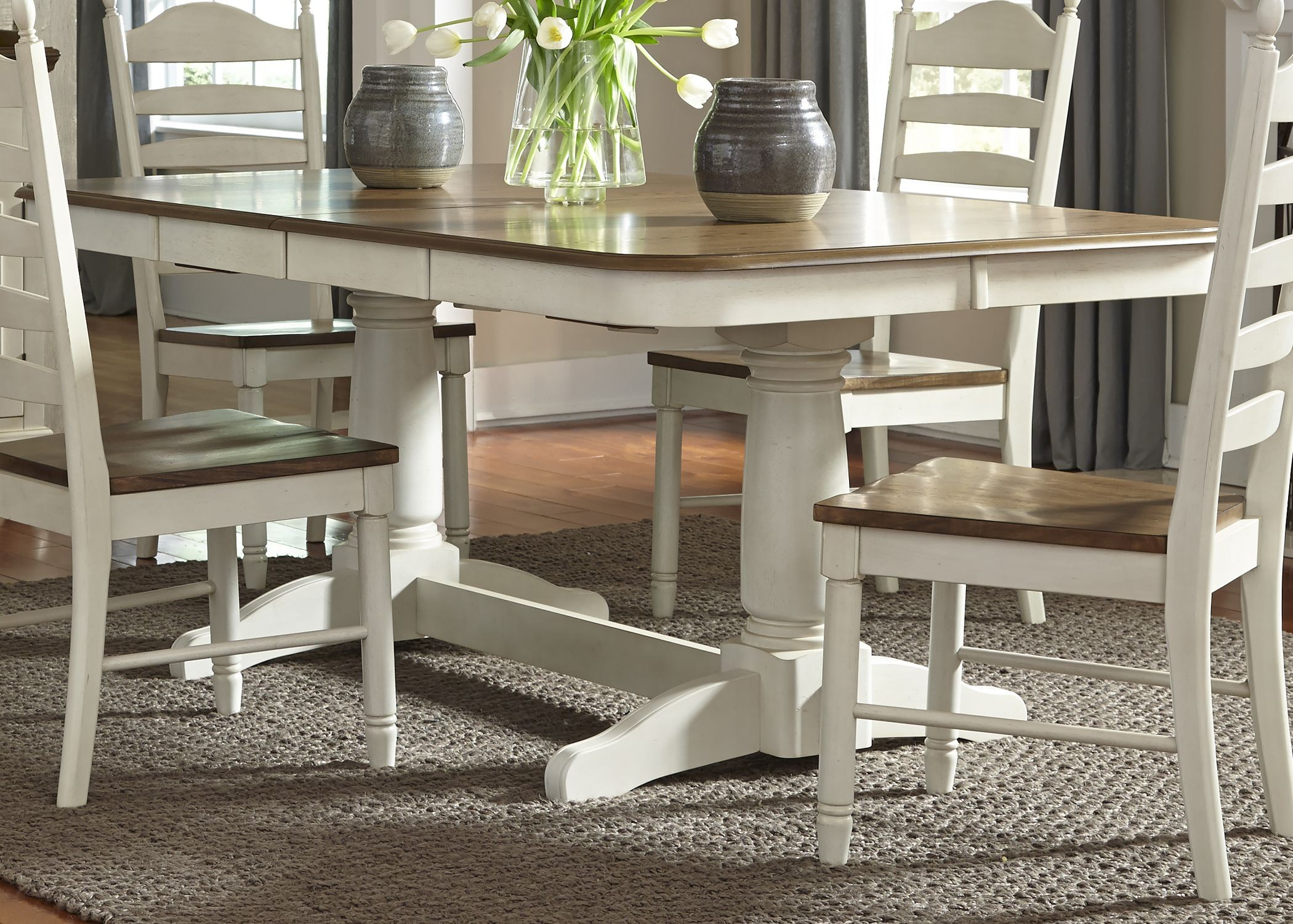 springfield honey and cream rectangular extendable double pedestal dining table from liberty. Black Bedroom Furniture Sets. Home Design Ideas