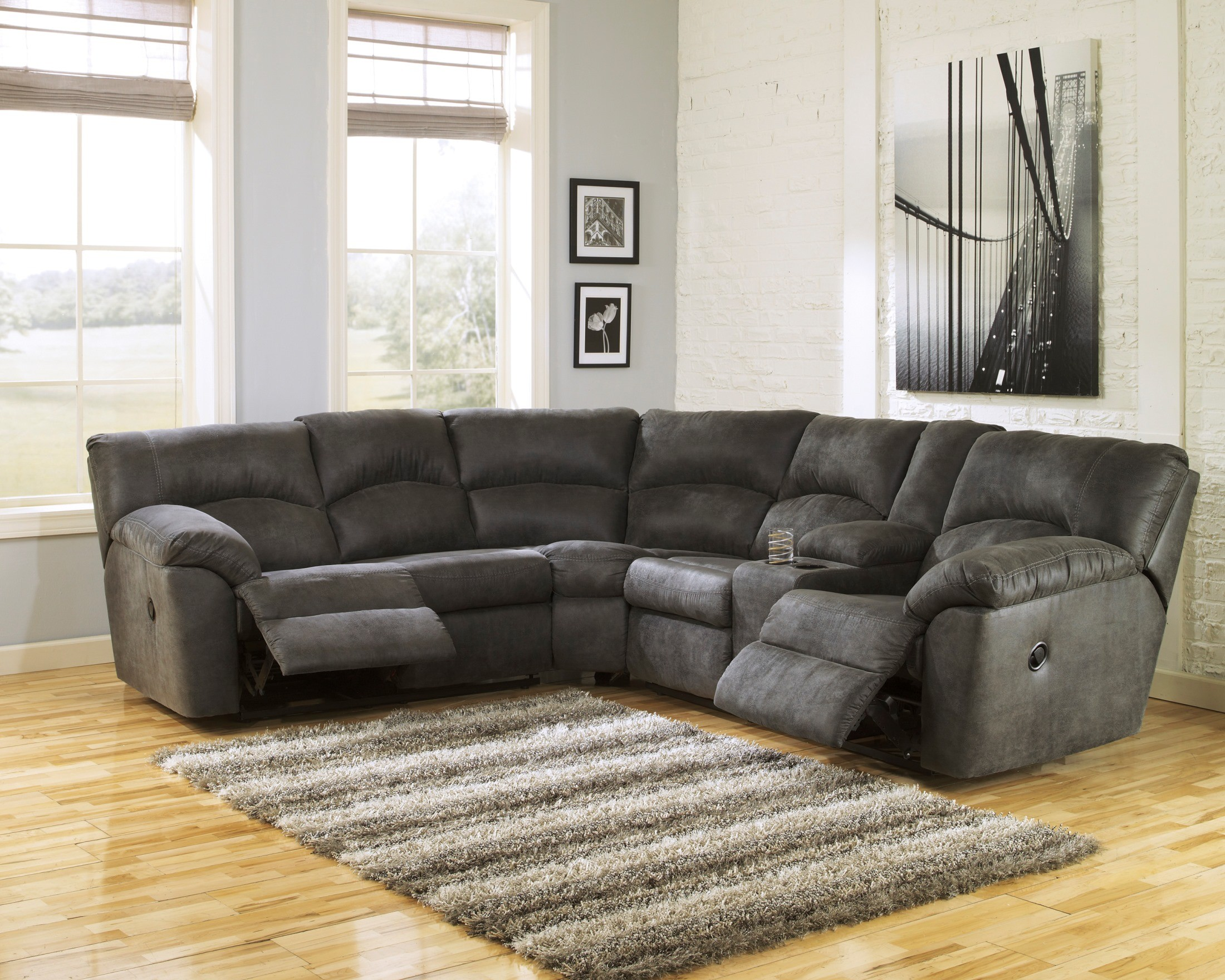 Tambo Pewter Reclining Sectional from Ashley