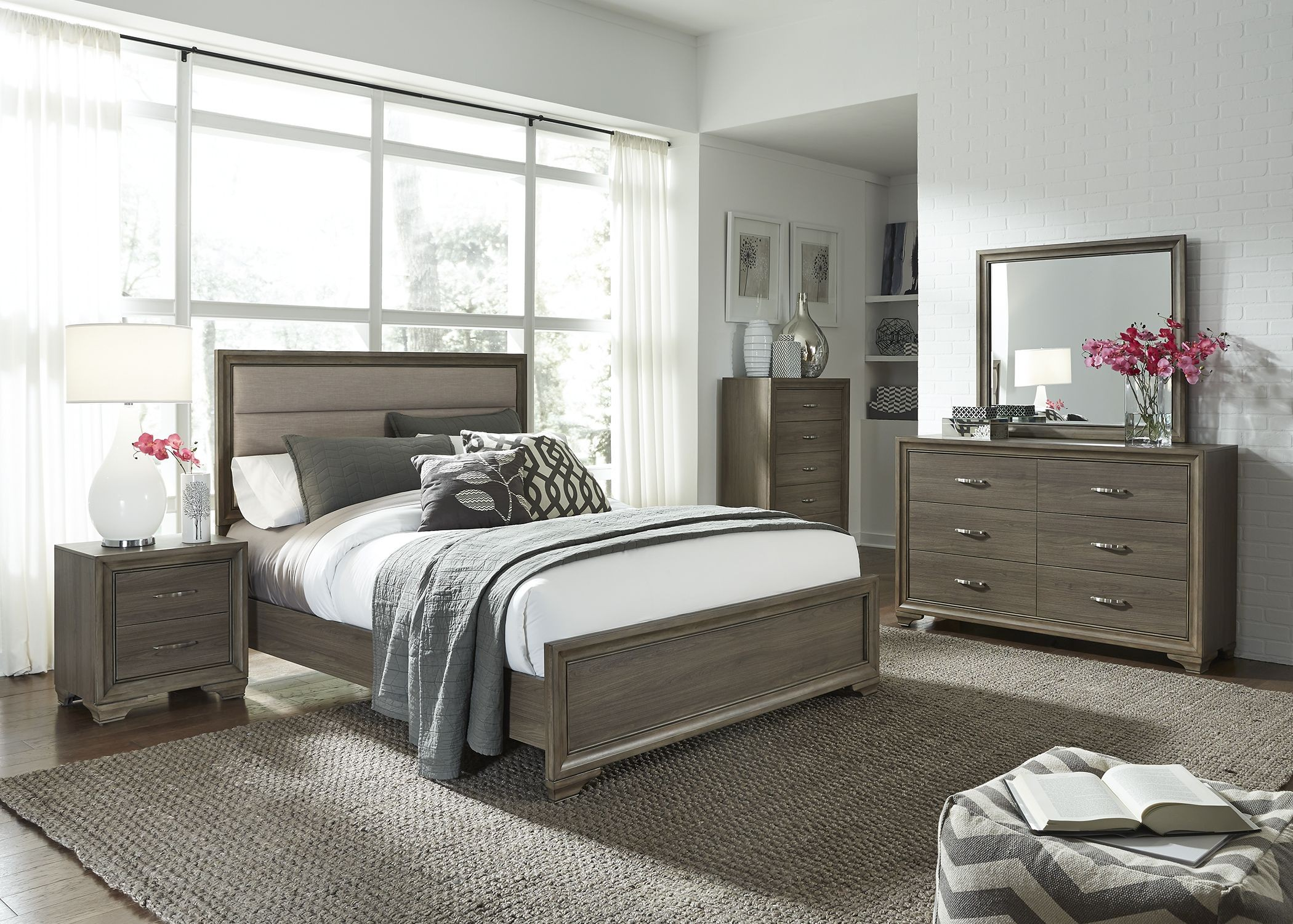 Hartly gray wash youth upholstered panel bedroom set from for Gray bedroom furniture sets