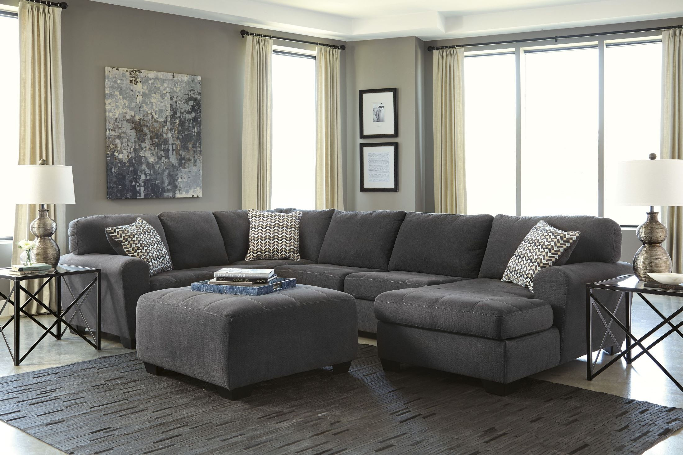 Sorenton Slate RAF Sectional from Ashley (2860017) | Coleman Furniture