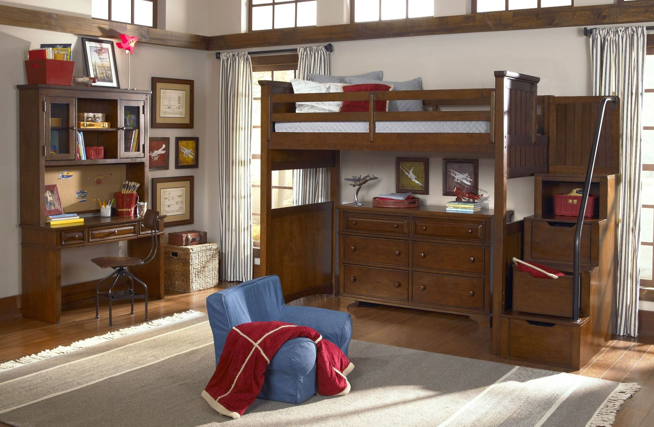 Dawsons ridge youth size open loft storage steps bedroom - Youth bedroom furniture with storage ...