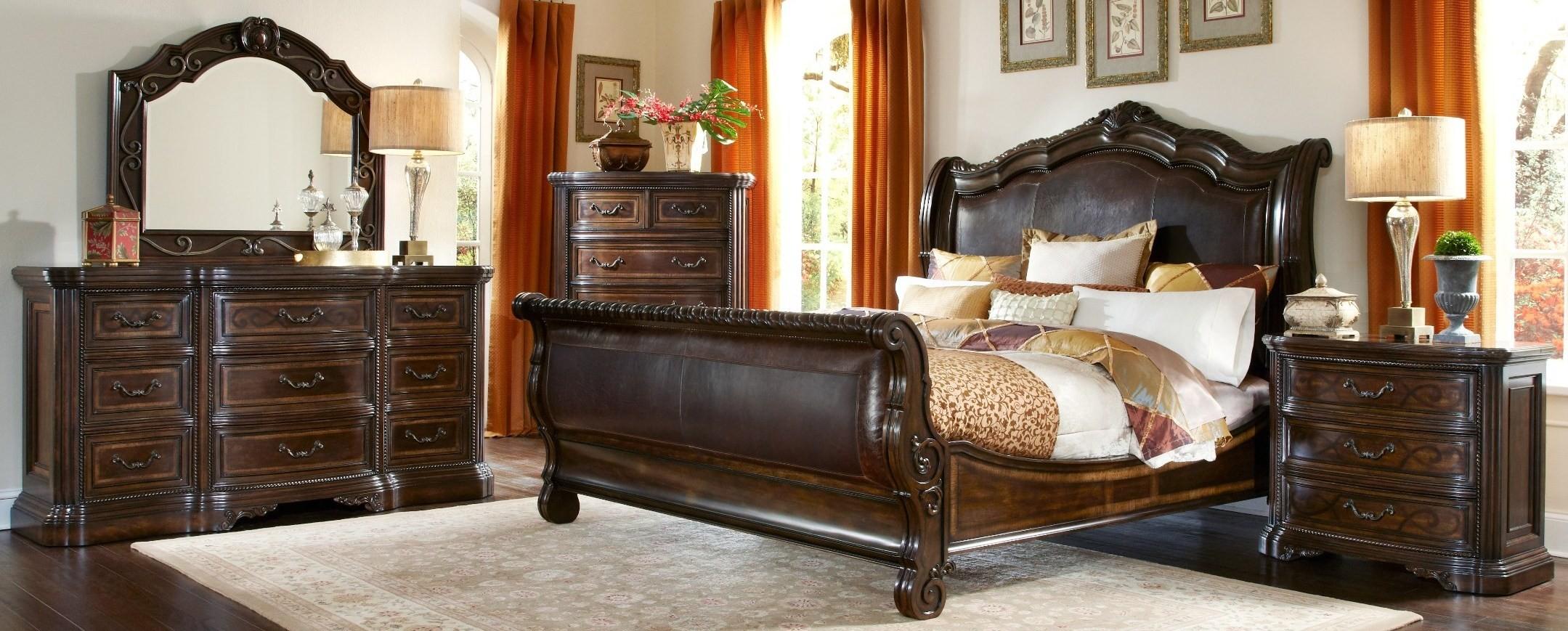 Valencia upholstered sleigh bedroom set from art 209155 for Sleigh bedroom set