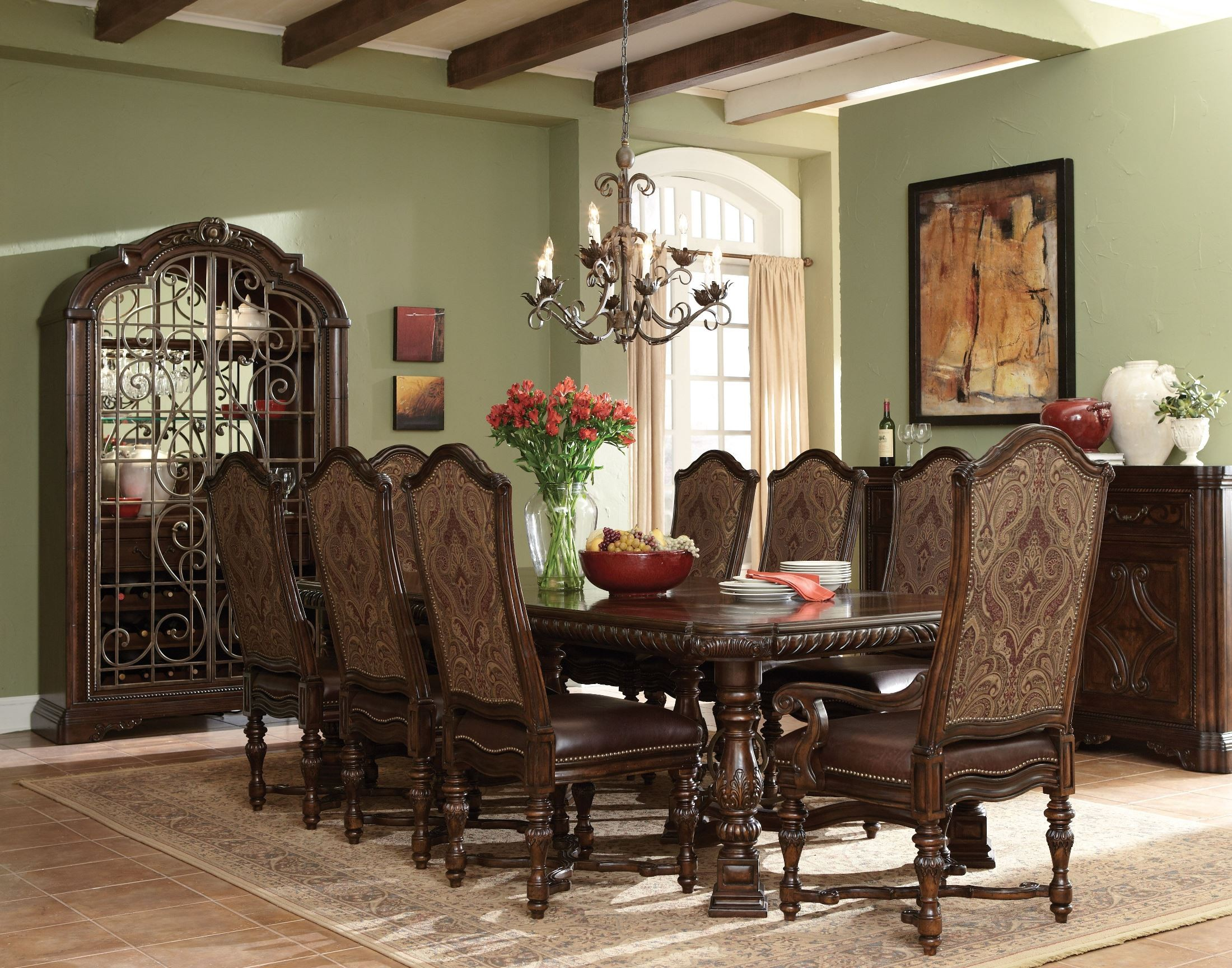 Valencia Trestle Extendable Dining Room Set Collection ART 899077 758865