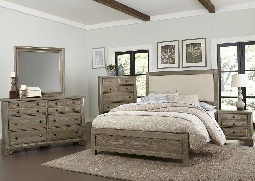 Bedford Washed Oak Upholstered Panel Bedroom Set From