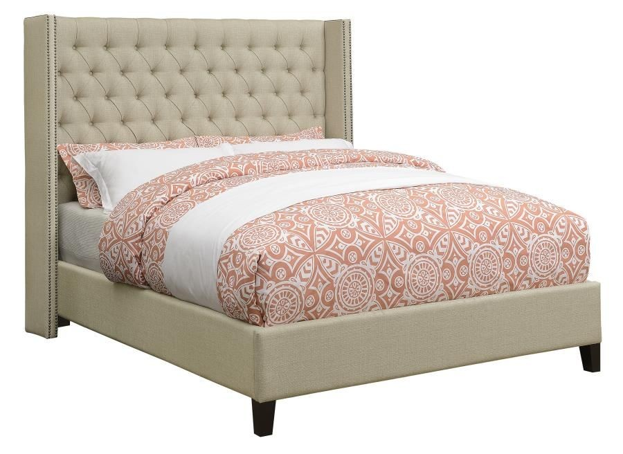 Benicia Beige Woven Full Upholstered Platform Bed by Scott Living ...