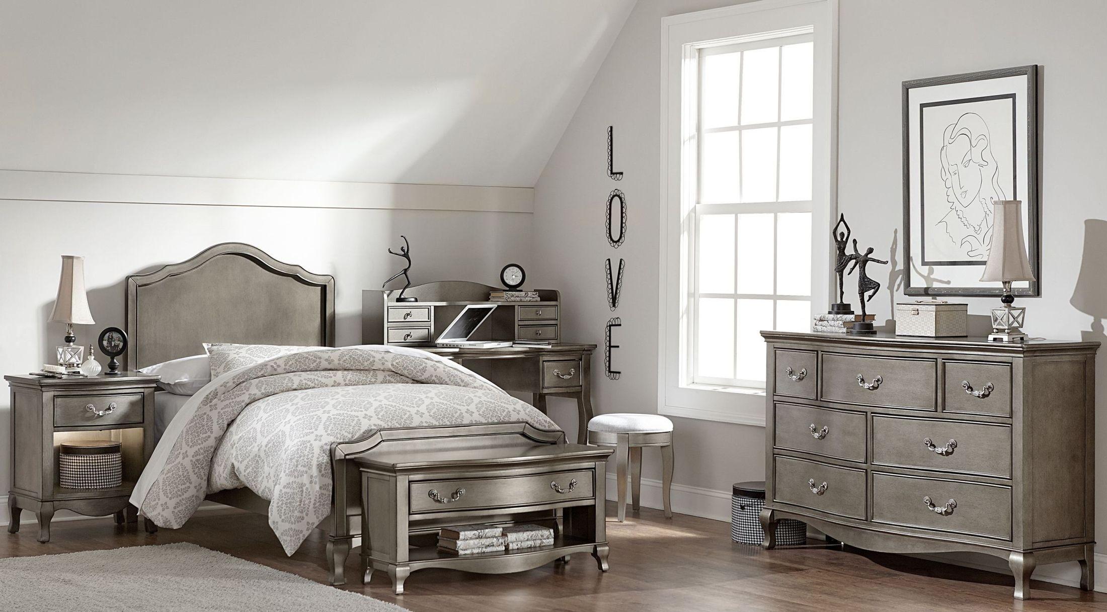 Kensington antique silver charlette youth panel bedroom set from ne kids coleman furniture for Knightsbridge bedroom furniture
