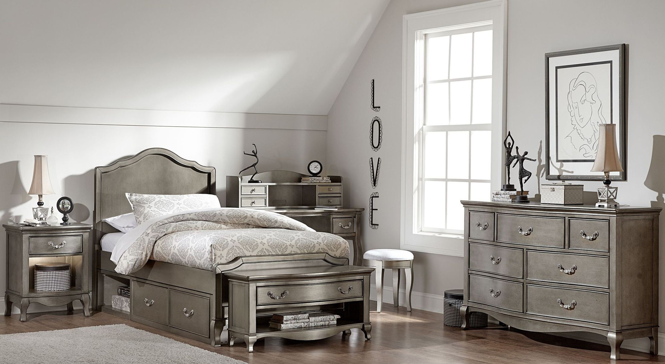 Kensington Antique Silver Charlotte Youth Panel Bedroom Set With Storage  From NE Kids | Coleman Furniture