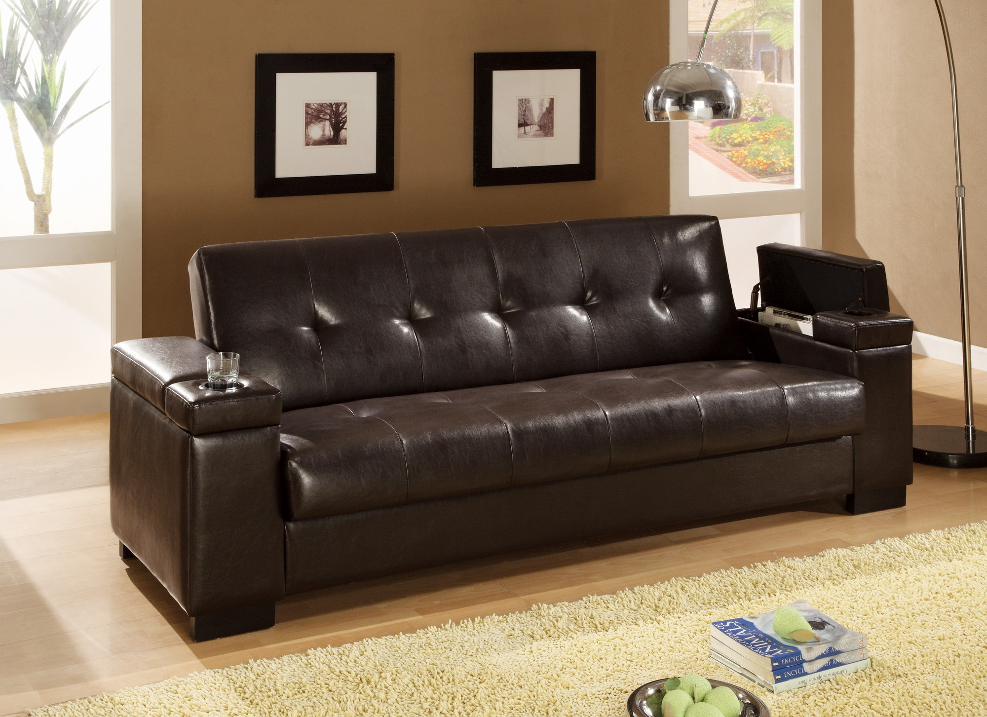 Faux leather convertible sofa sleeper with storage 300143 for Sofa with storage
