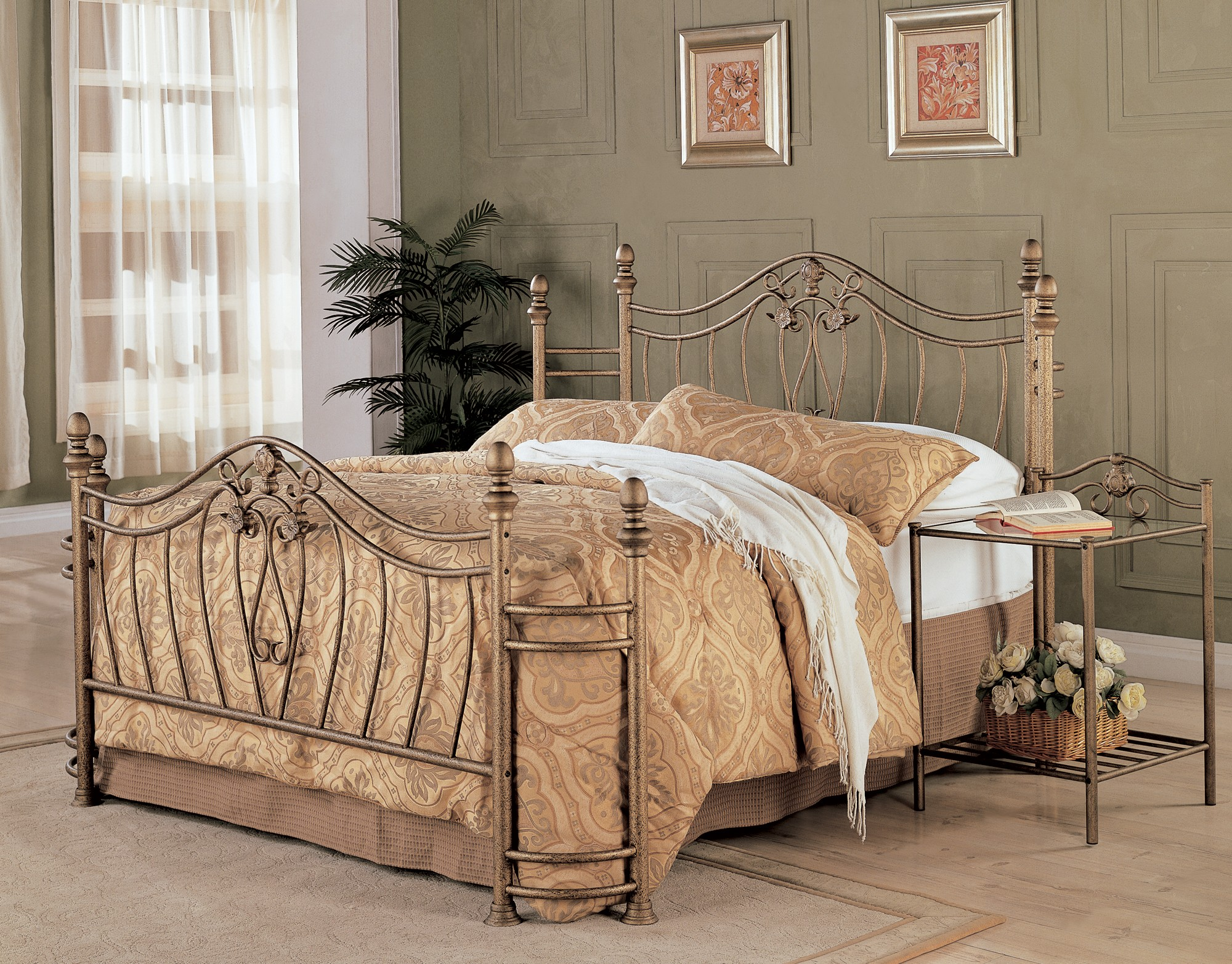 Sydney antique brushed gold bedroom set from coaster for Bedroom furniture sydney