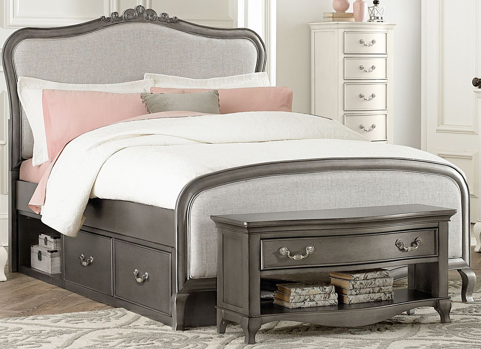 kensington antique silver katherine upholstered full panel bed with storage from ne kids. Black Bedroom Furniture Sets. Home Design Ideas