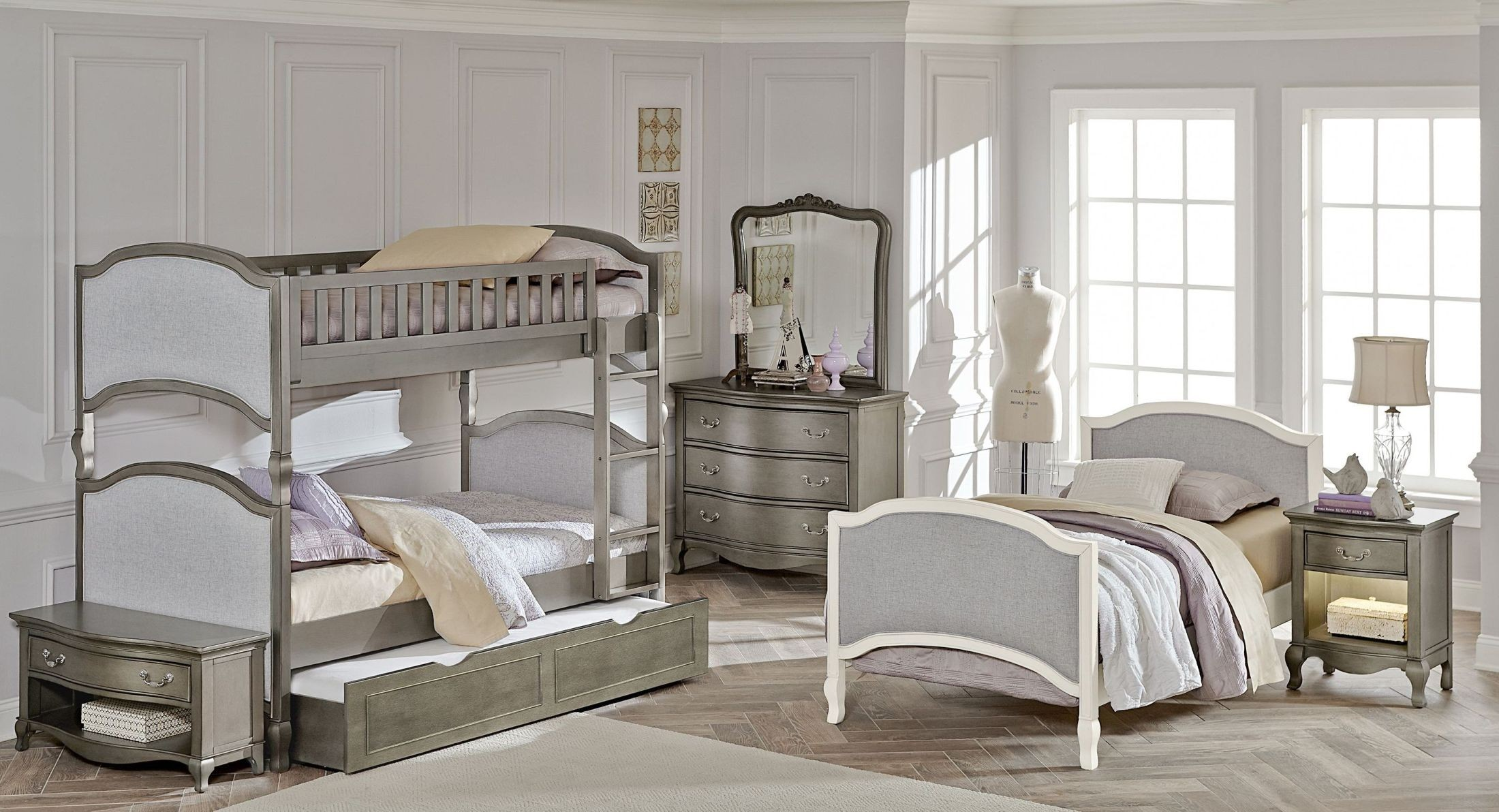 Kensington Antique Silver Victoria Youth Bunk Bedroom Set With Trundle From Ne Kids Coleman