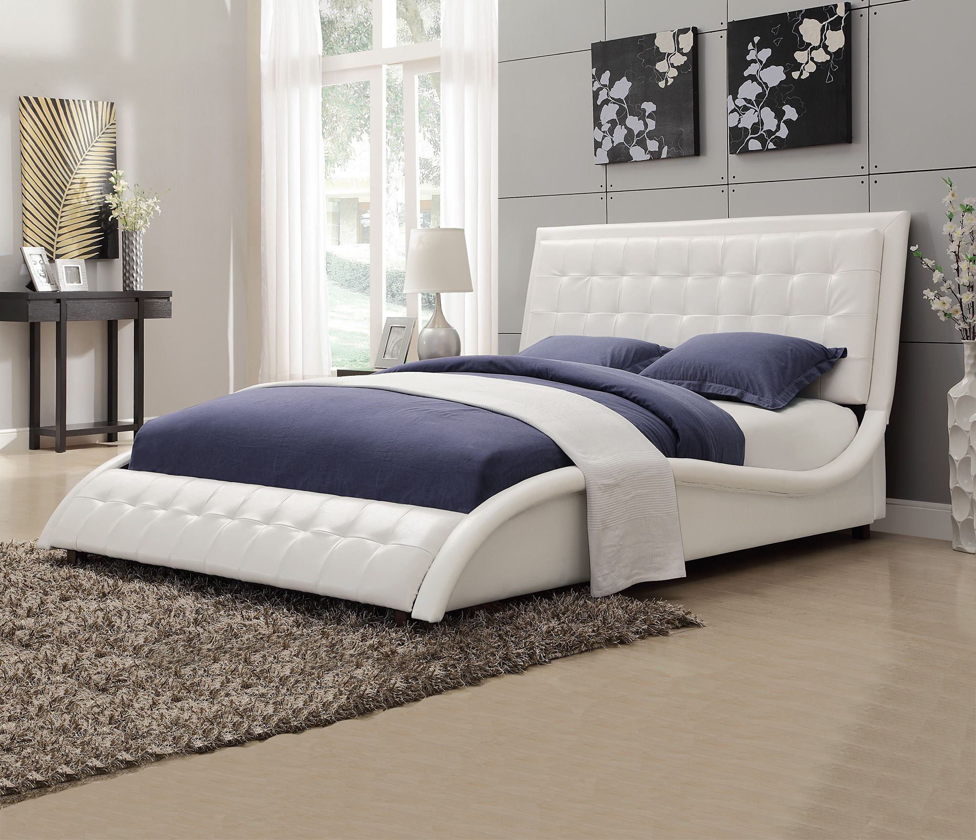 Cheap Nice Furniture For Sale: Tully White King Platform Upholstered Bed From Coaster
