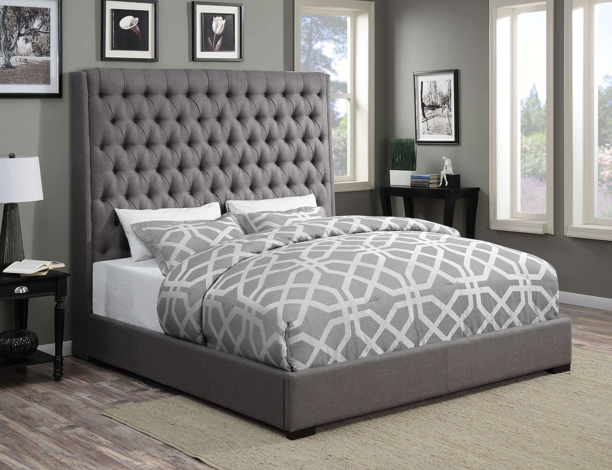 Camille Grey Queen Platform Bed From Coaster Coleman