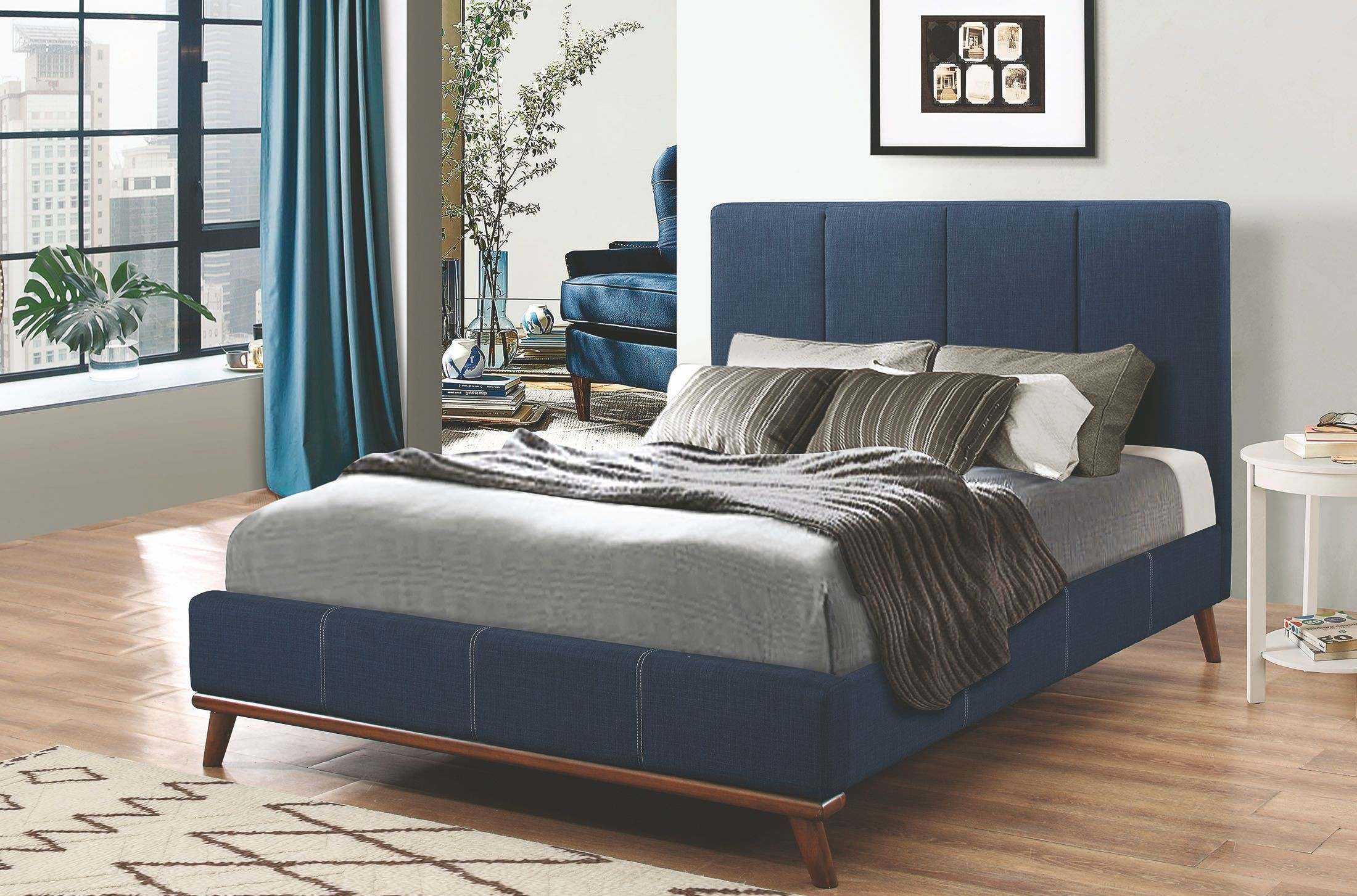 Charity Dark Blue King Upholstered Platform Bed From