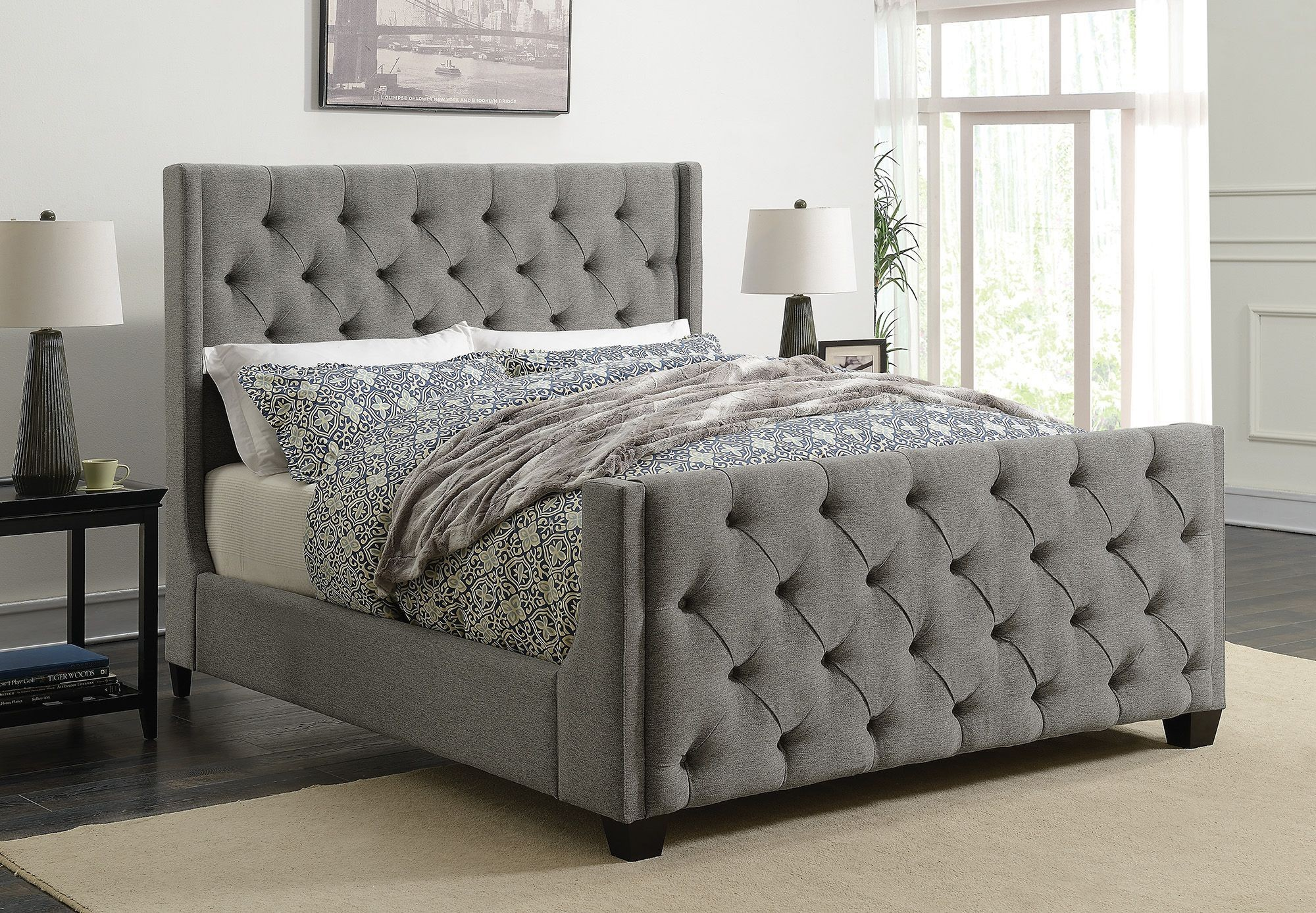 palma gray king upholstered panel bed from coaster coleman furniture. Black Bedroom Furniture Sets. Home Design Ideas