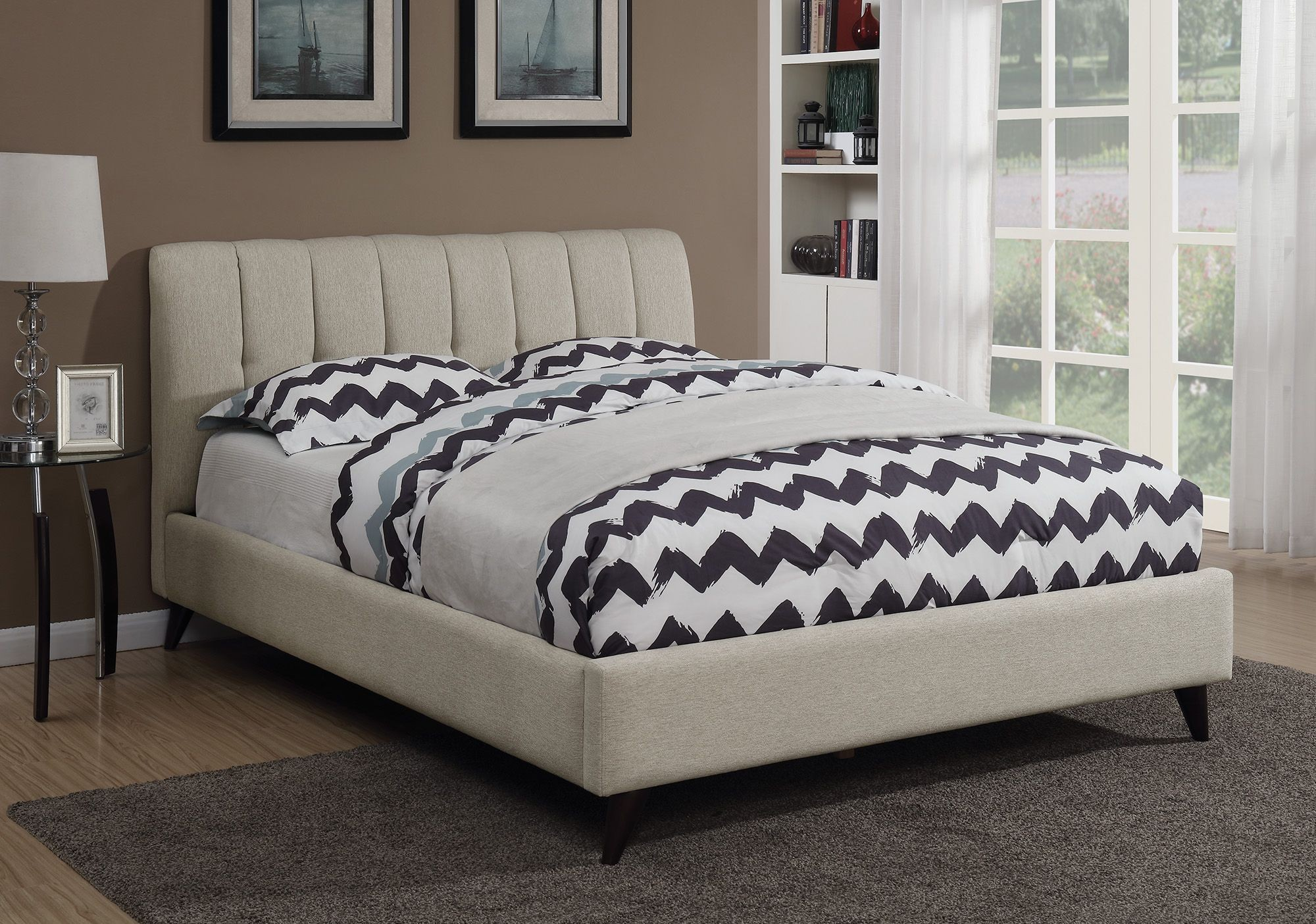 b20a5c5231c92 Portola Oatmeal King Upholstered Platform Bed from Coaster