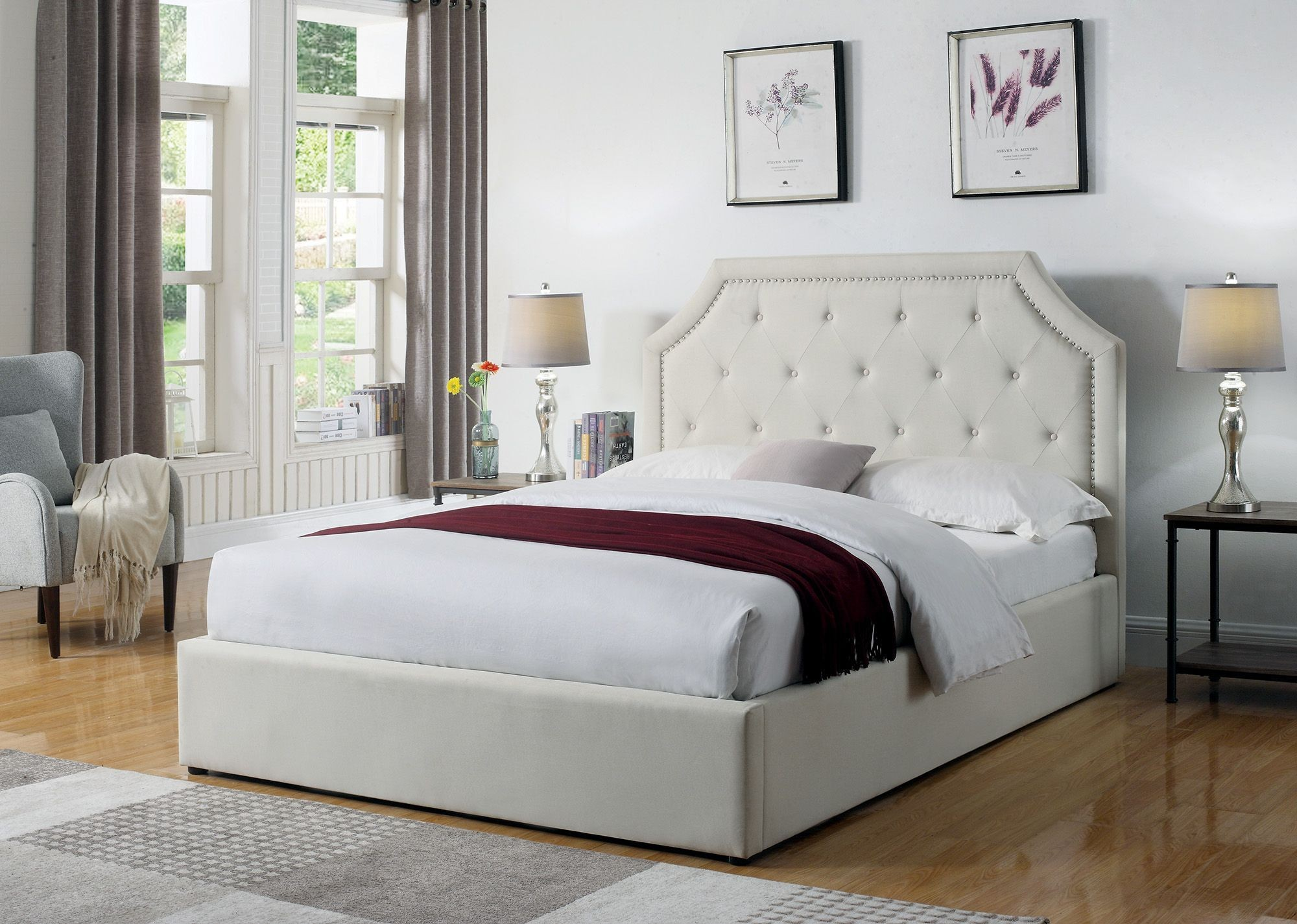 Hermosa Beige Twin Upholstered Platform Bed From Coaster