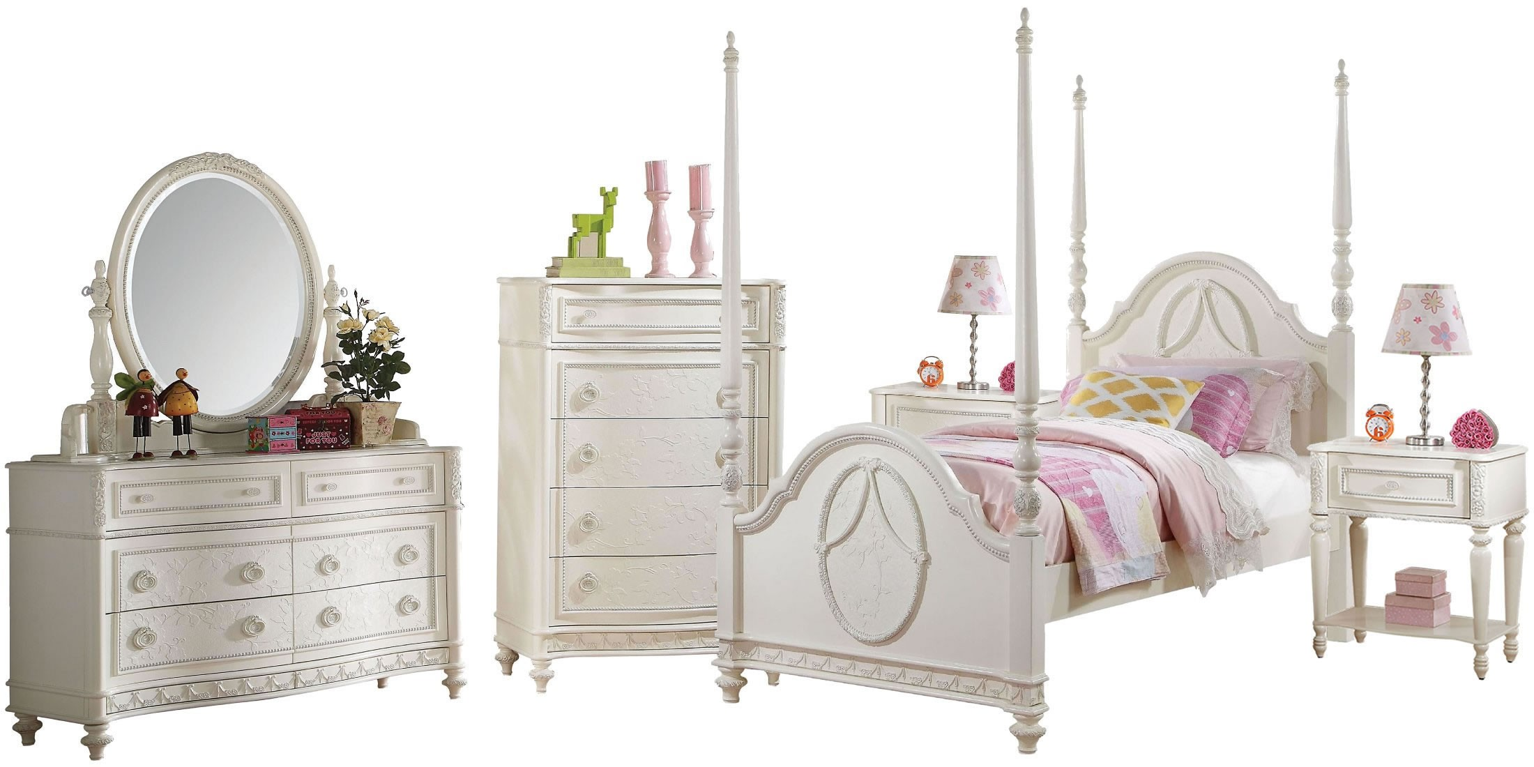 Dorothy Ivory Youth Wooden Poster Bedroom Set From Acme | Coleman Furniture