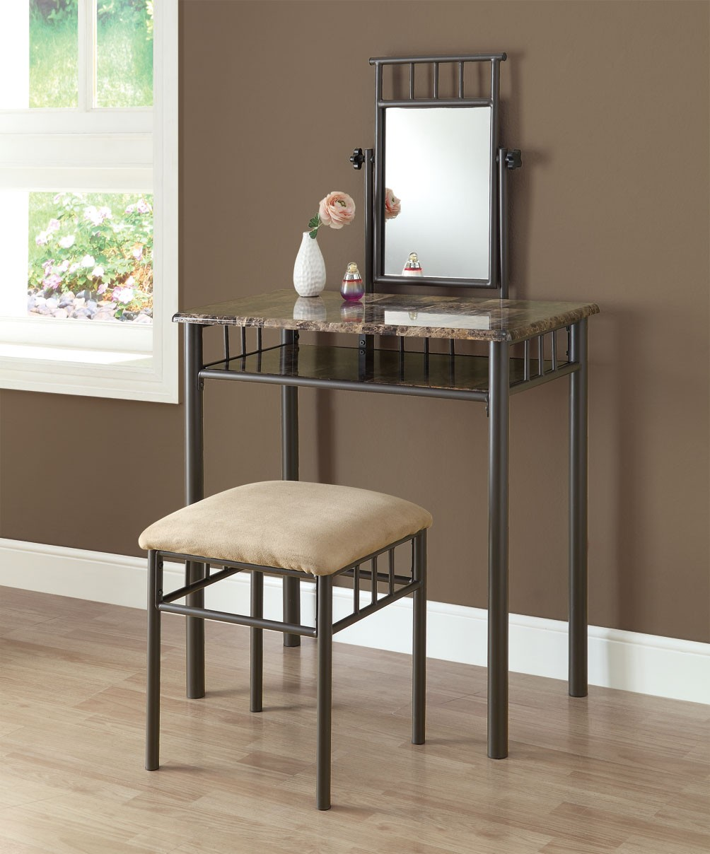 Vanity Tables Product : Cappuccino marble bronze vanity with stool from