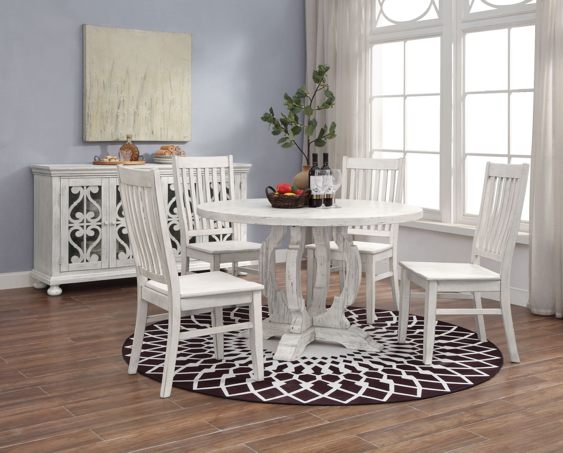 Orchard Park White Rub Round Dining Room Set From Coast To