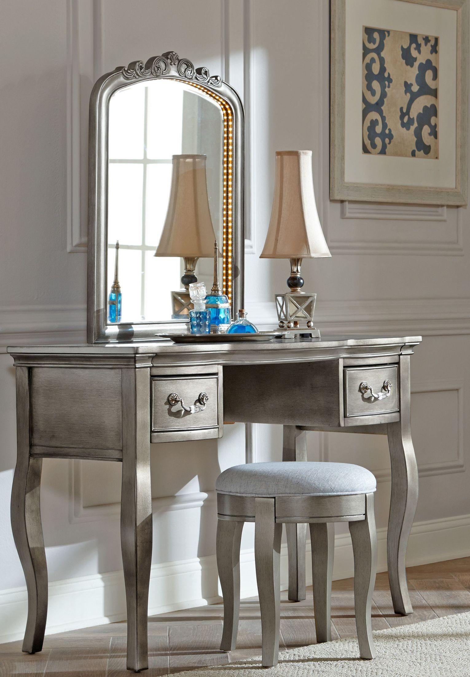 Kensington Antique Silver Writing Desk With Vanity Mirror