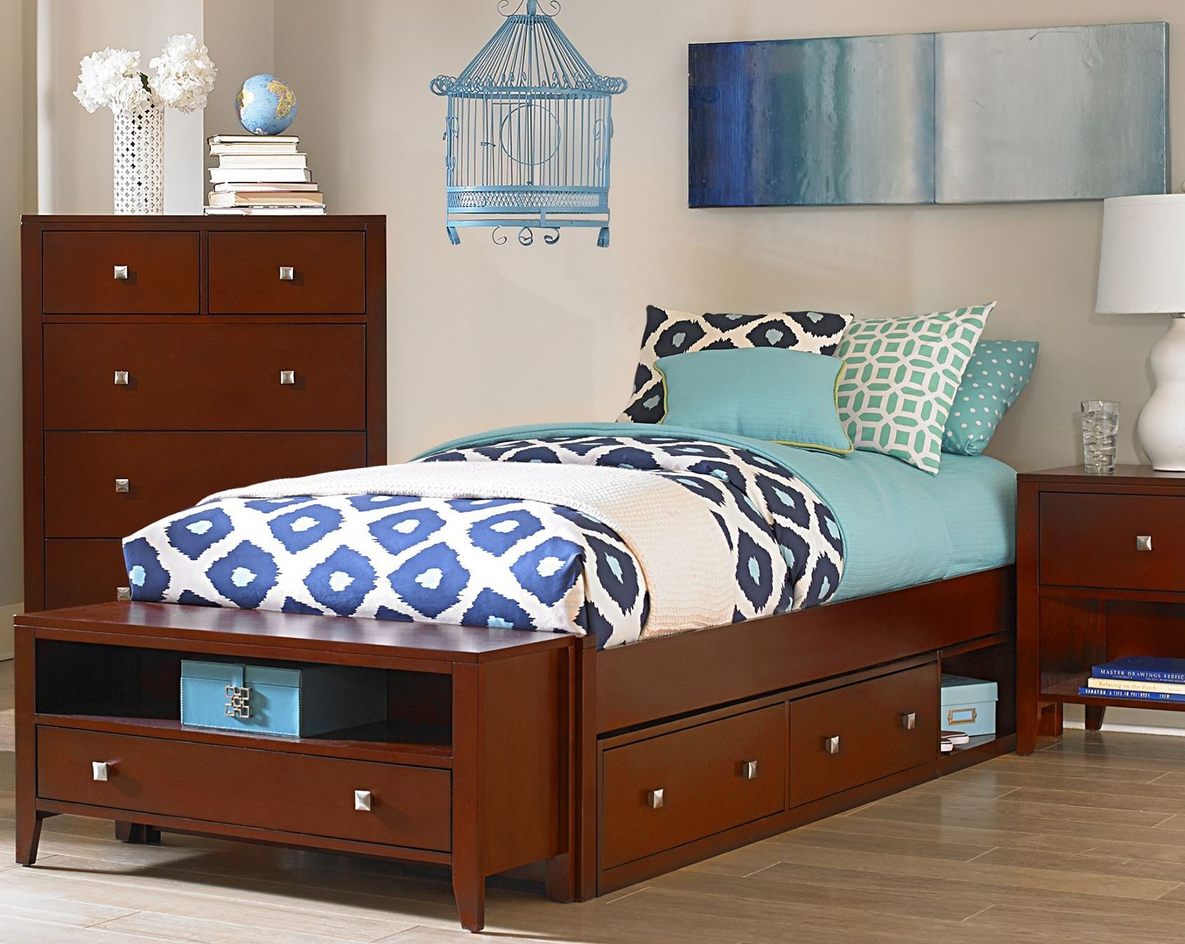 Pulse Cherry Twin Platform Bed With Storage from NE Kids
