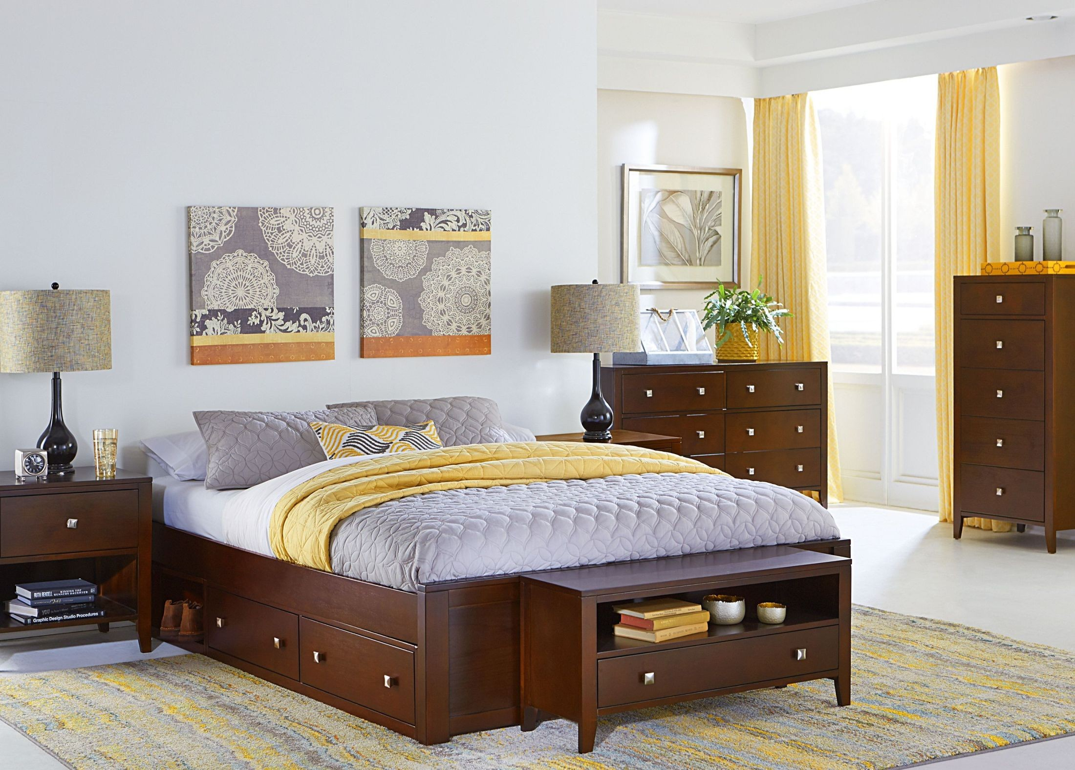 Pulse cherry platform bedroom set with storage from ne - Platform bedroom sets with storage ...