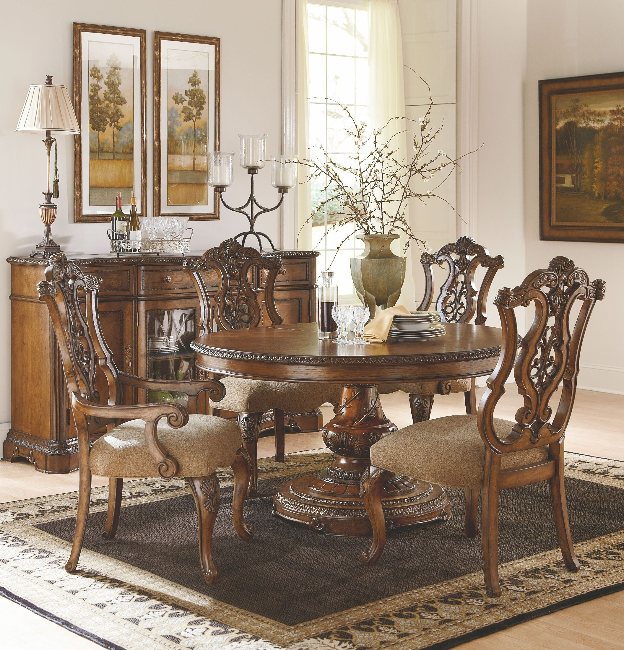 Round Dining Room Sets For 6: Pemberleigh Extendable Round To Oval Dining Room Set From