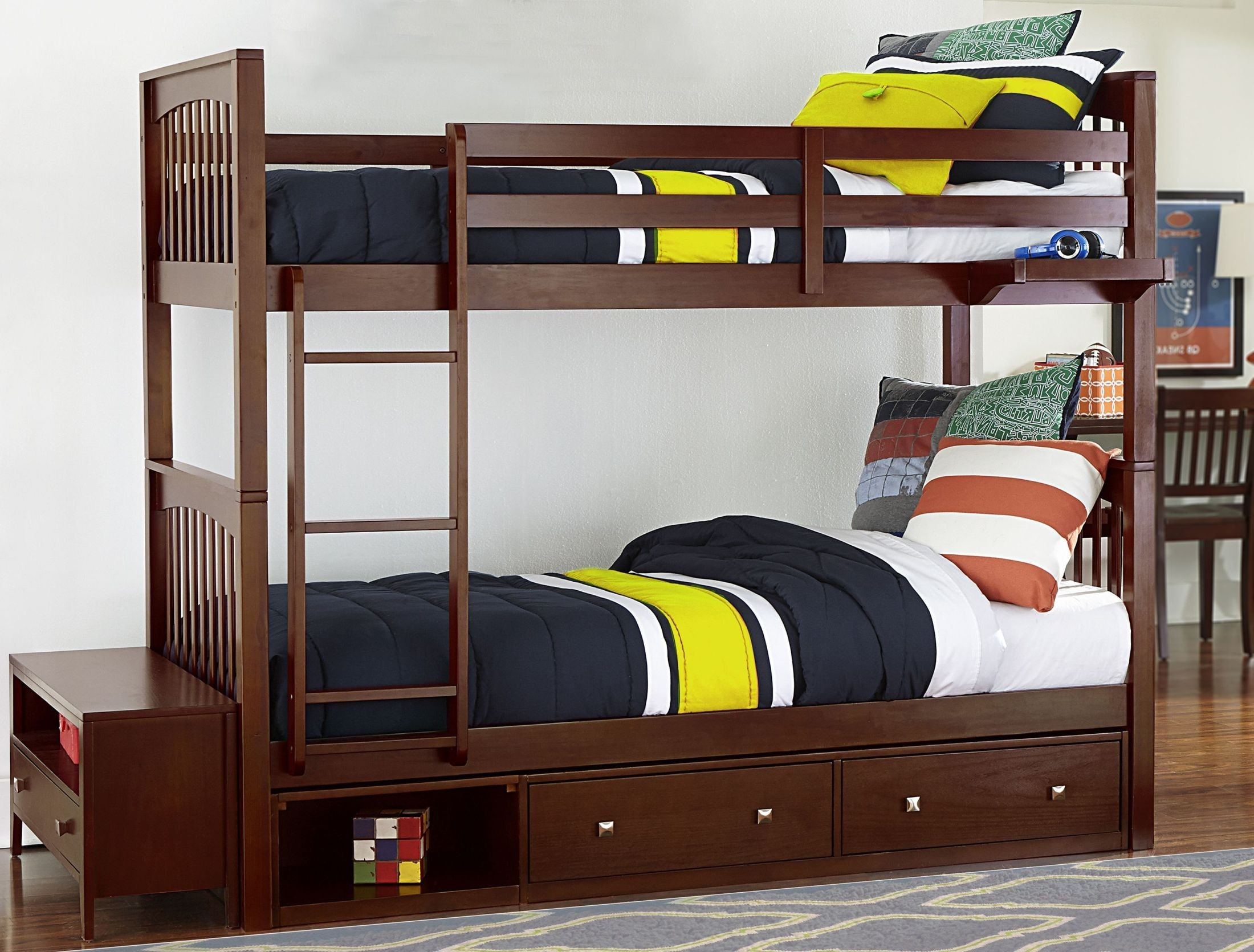 Pulse cherry youth bunk bedroom set with storage from ne kids coleman furniture for Youth storage bedroom furniture