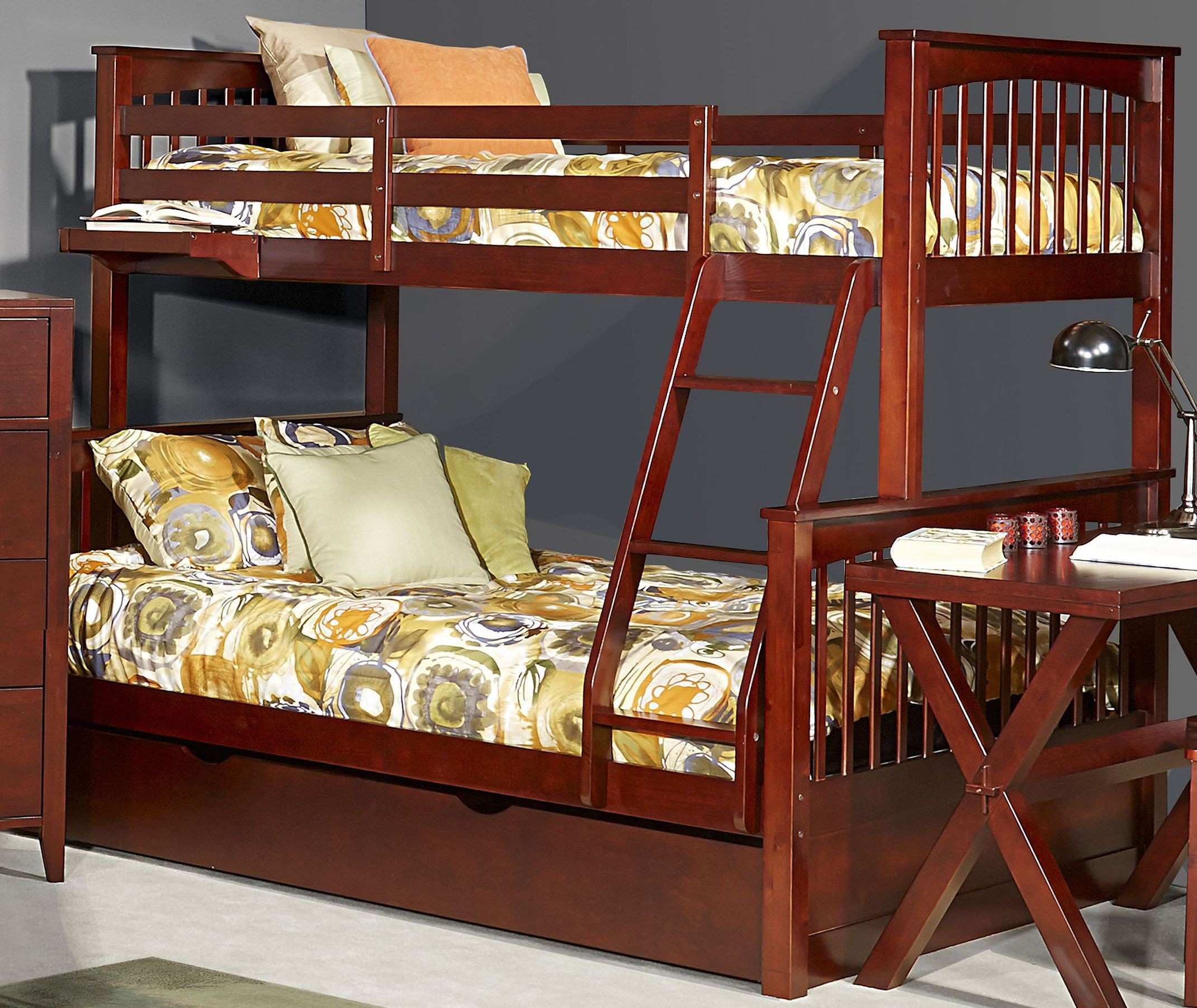 pulse cherry twin over full bunk bed with trundle 31050nt ne kids. Black Bedroom Furniture Sets. Home Design Ideas