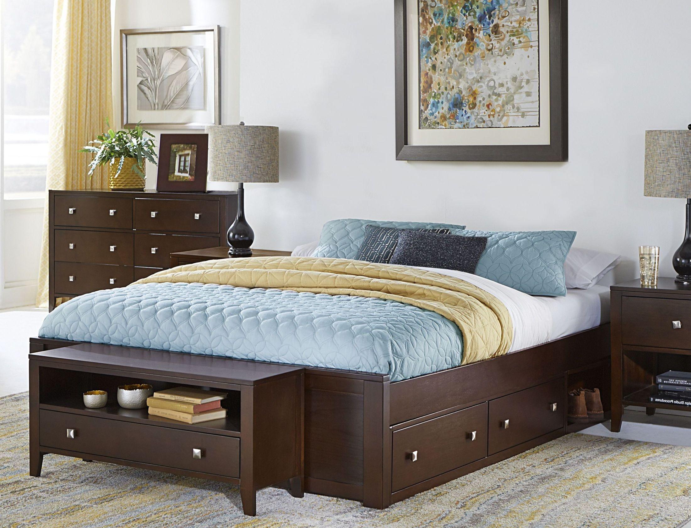 Pulse chocolate platform bedroom set with storage from ne - Platform bedroom sets with storage ...
