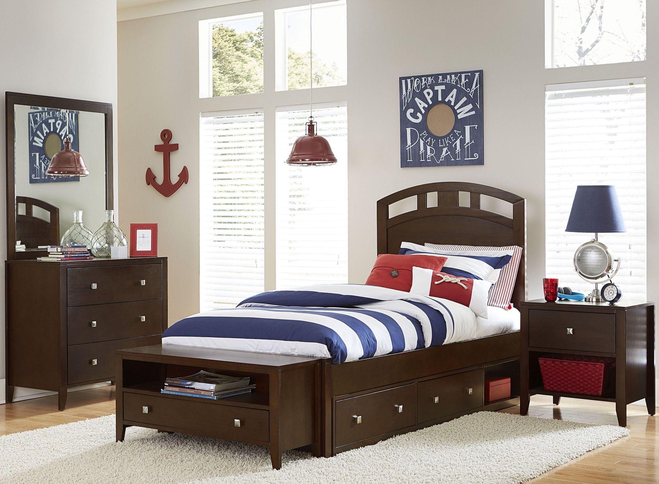 Pulse Chocolate Arch Youth Panel Bedroom Set With Storage From NE Kids    Coleman Furniture