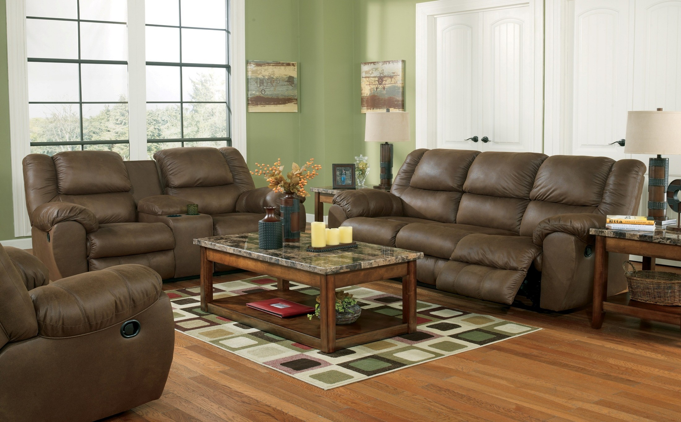 Quarterback canyon reclining living room set from ashley for Living room 94 game