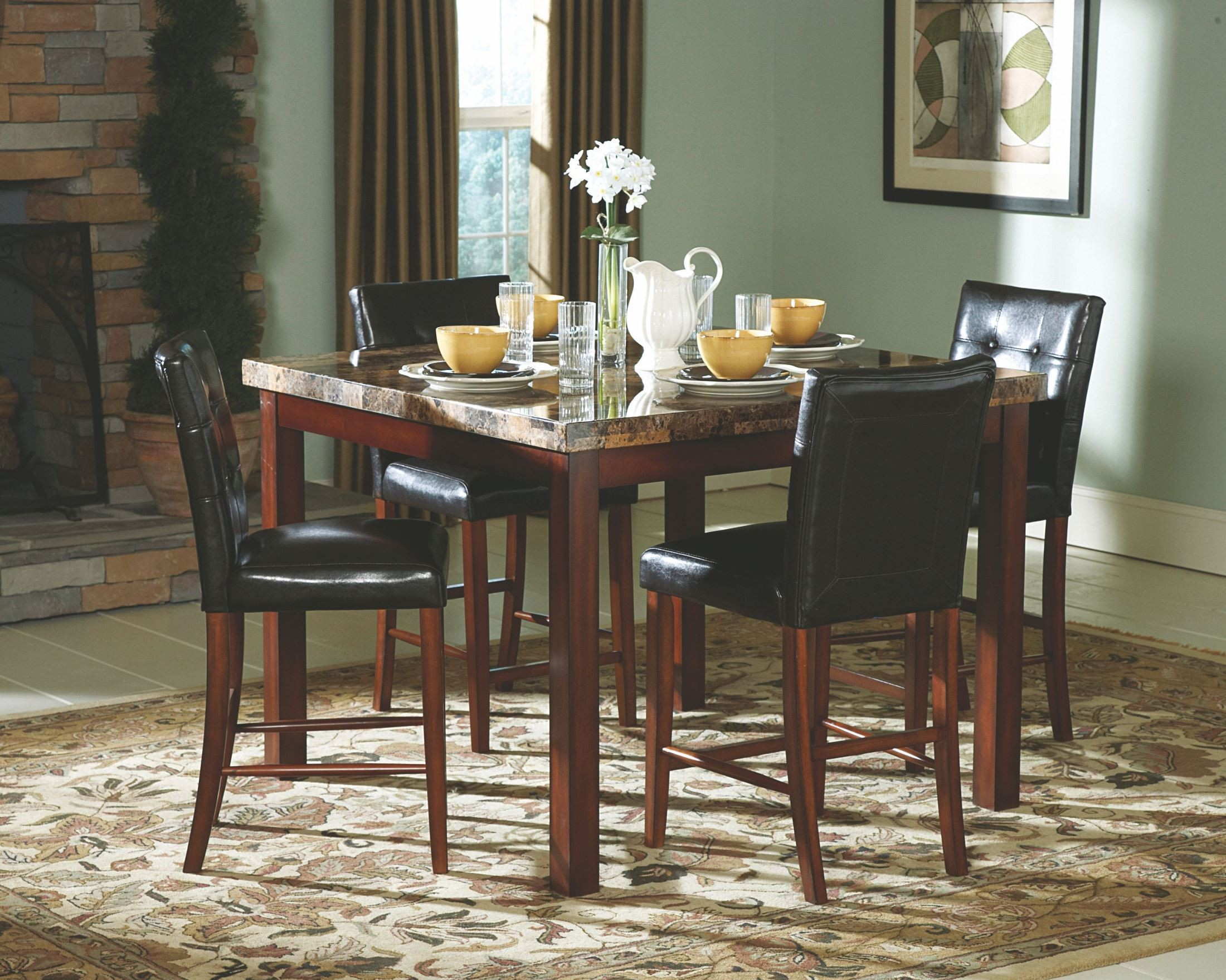 Counter Height Dining Tables: Achillea Faux Marble Counter Height Dining Room Set From