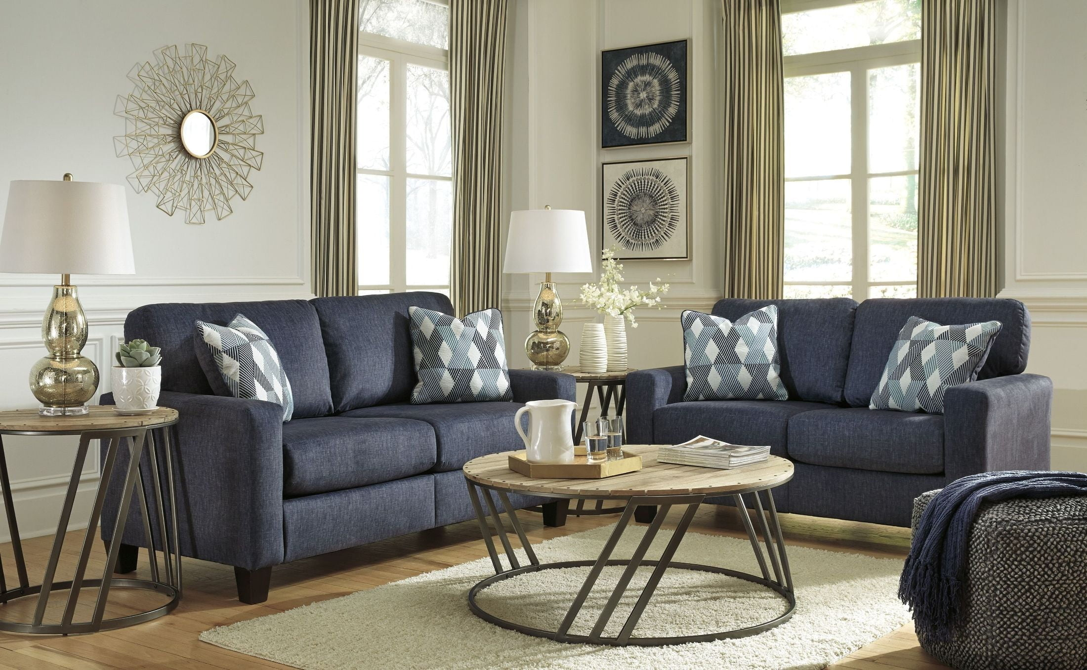 X. Burgos Navy Living Room Set